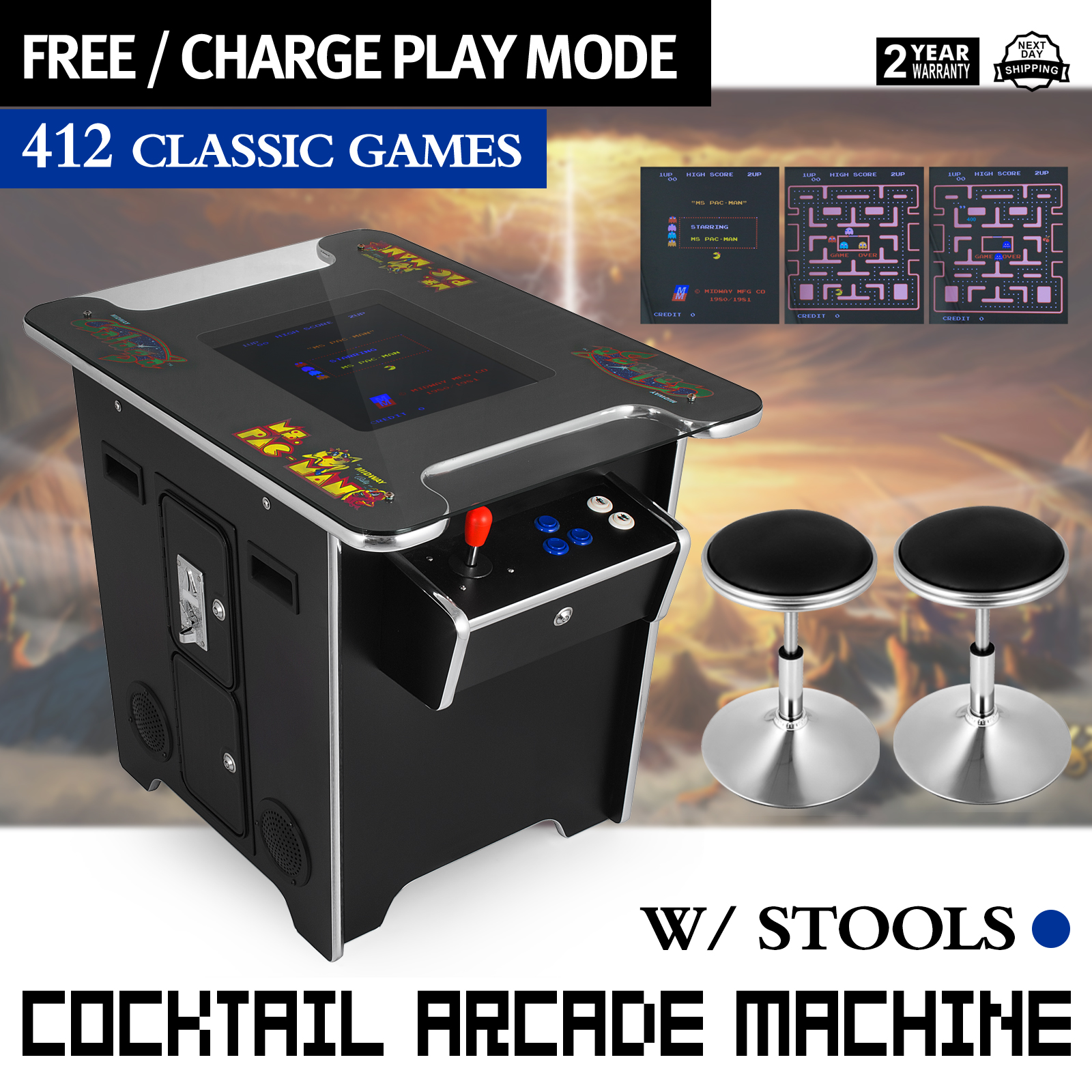 589d4a6b54fa1 Details about Video Game Machine Cocktail Arcade Machine with 412 Classic  Games