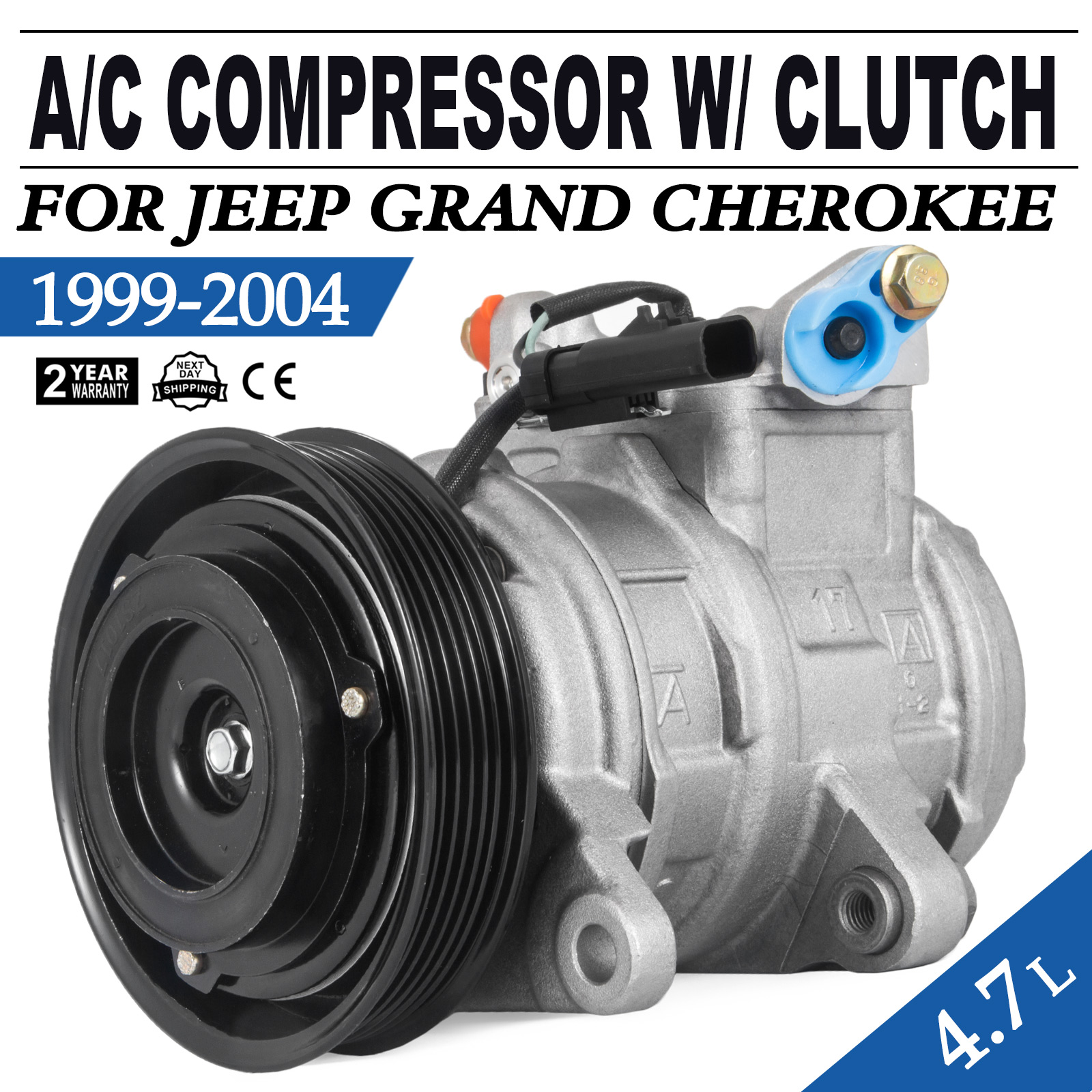 New A//C Compressor and Clutch CO 22033C fits 1999-2004 Jeep Grand Cherokee 4.7L