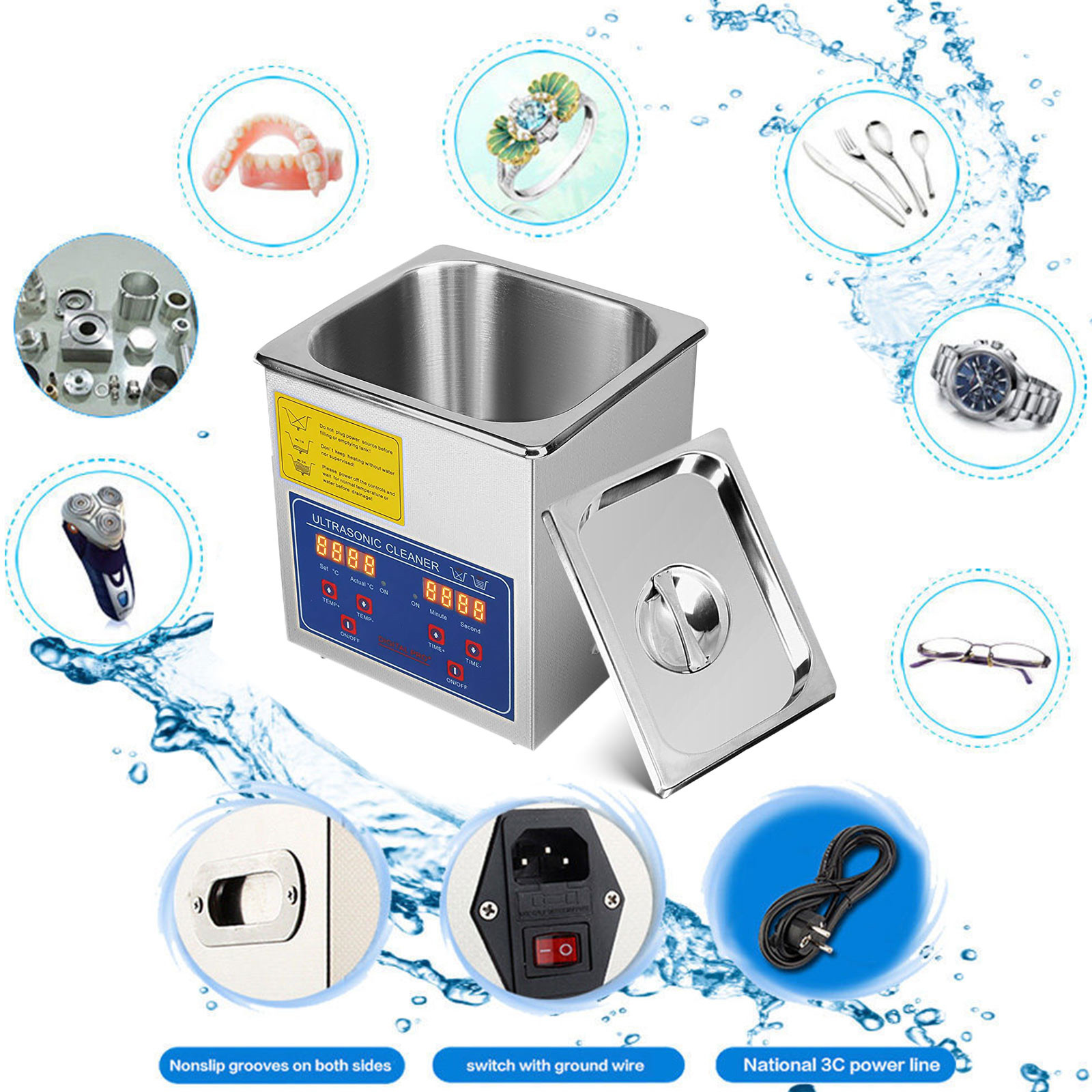 Multi-Ultrasonic-Cleaner-Supplies-Jewelry-1-3-2L-3L-6L-10L-15L-22L-30L thumbnail 23