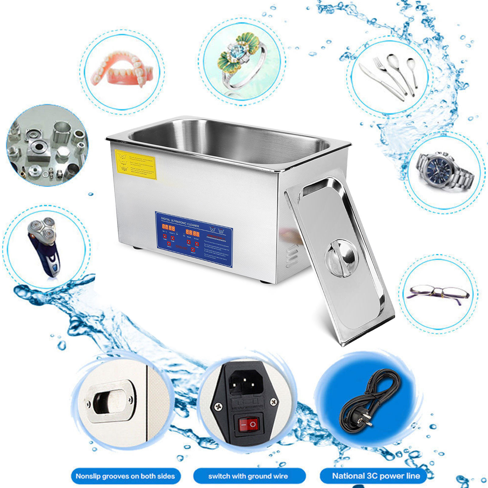 Multi-Ultrasonic-Cleaner-Supplies-Jewelry-1-3-2L-3L-6L-10L-15L-22L-30L thumbnail 106