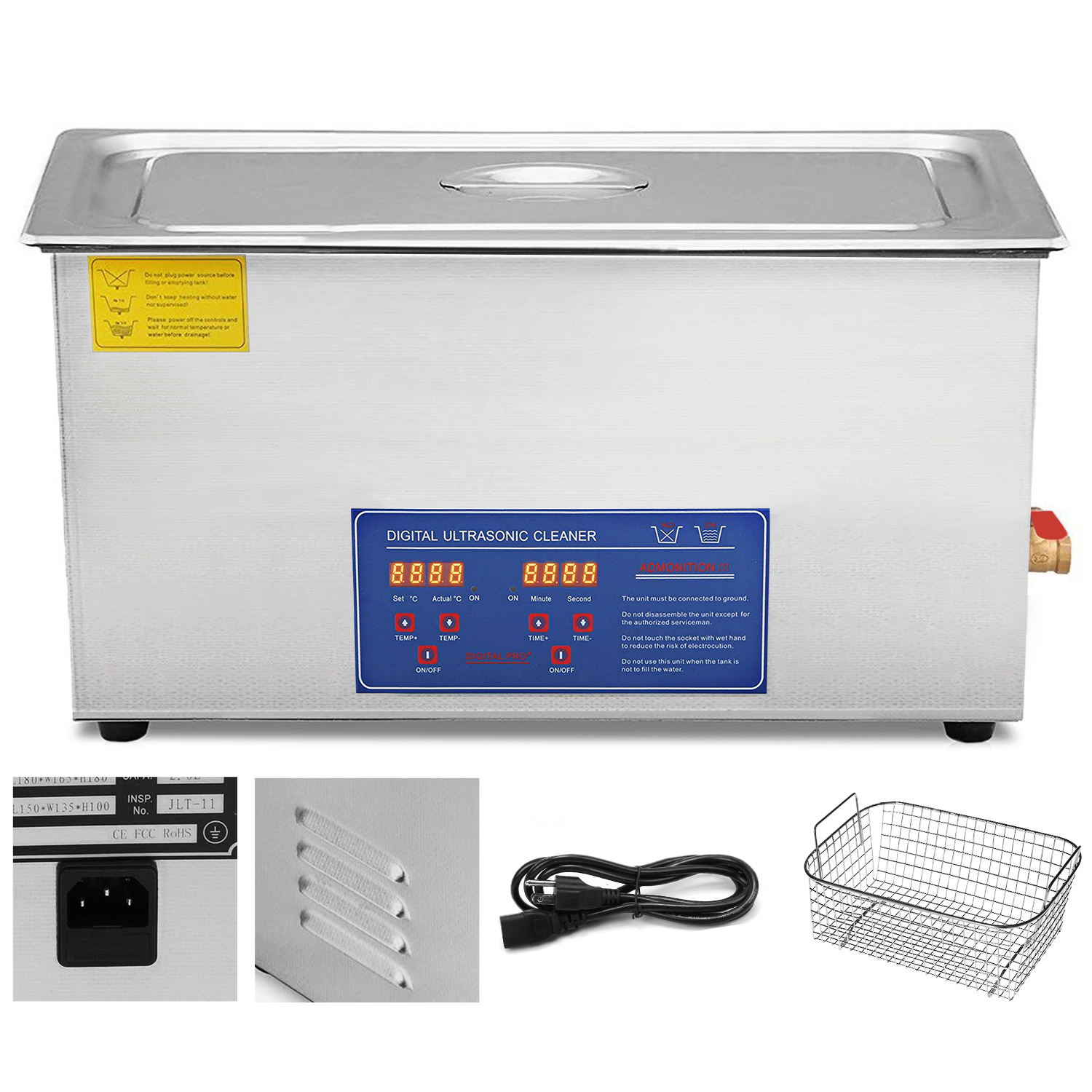 Details about New 30L Ultrasonic Cleaner Stainless Steel Industry Heated  Heater w/Timer