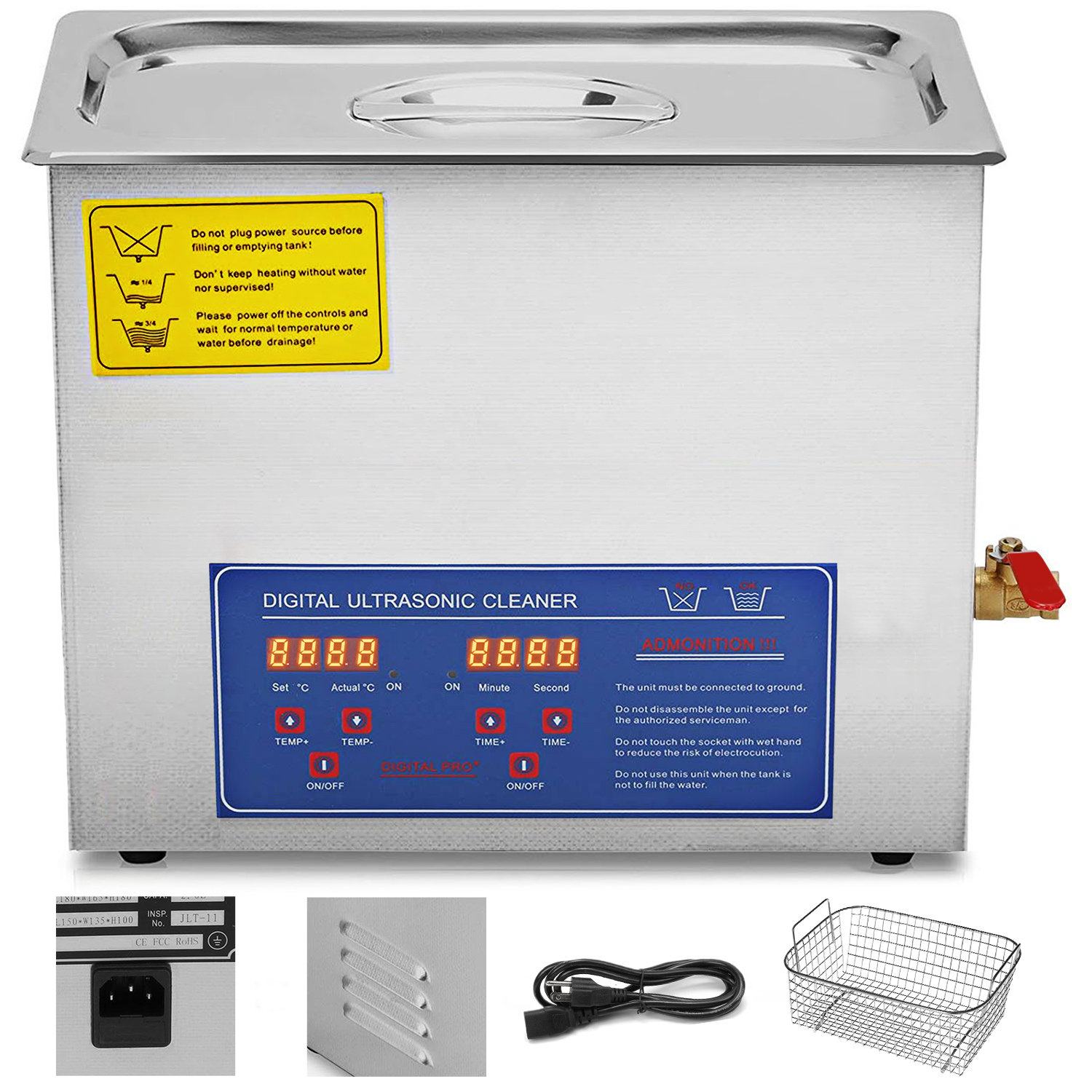 Multi-Ultrasonic-Cleaner-Supplies-Jewelry-1-3-2L-3L-6L-10L-15L-22L-30L thumbnail 49