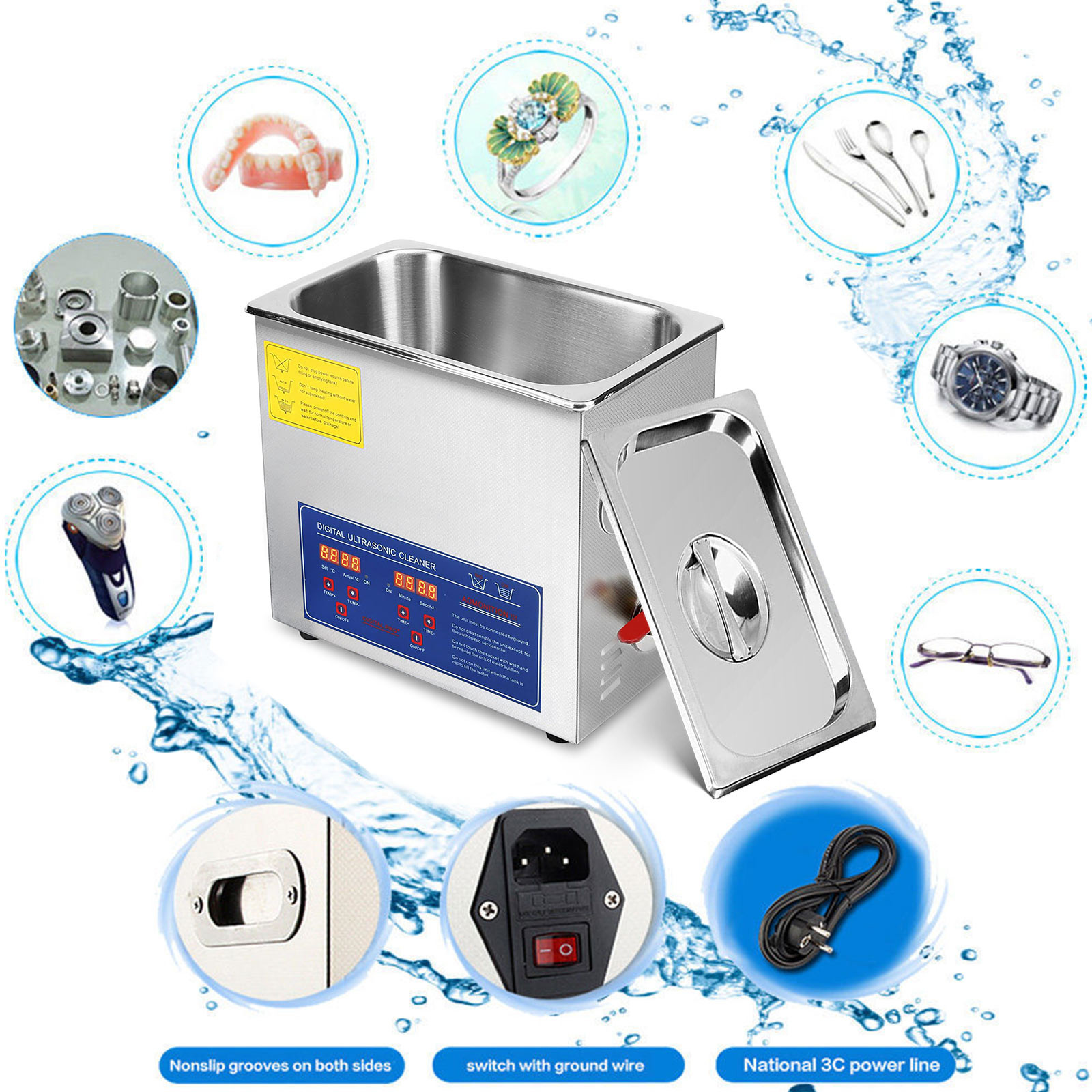 Multi-Ultrasonic-Cleaner-Supplies-Jewelry-1-3-2L-3L-6L-10L-15L-22L-30L thumbnail 81