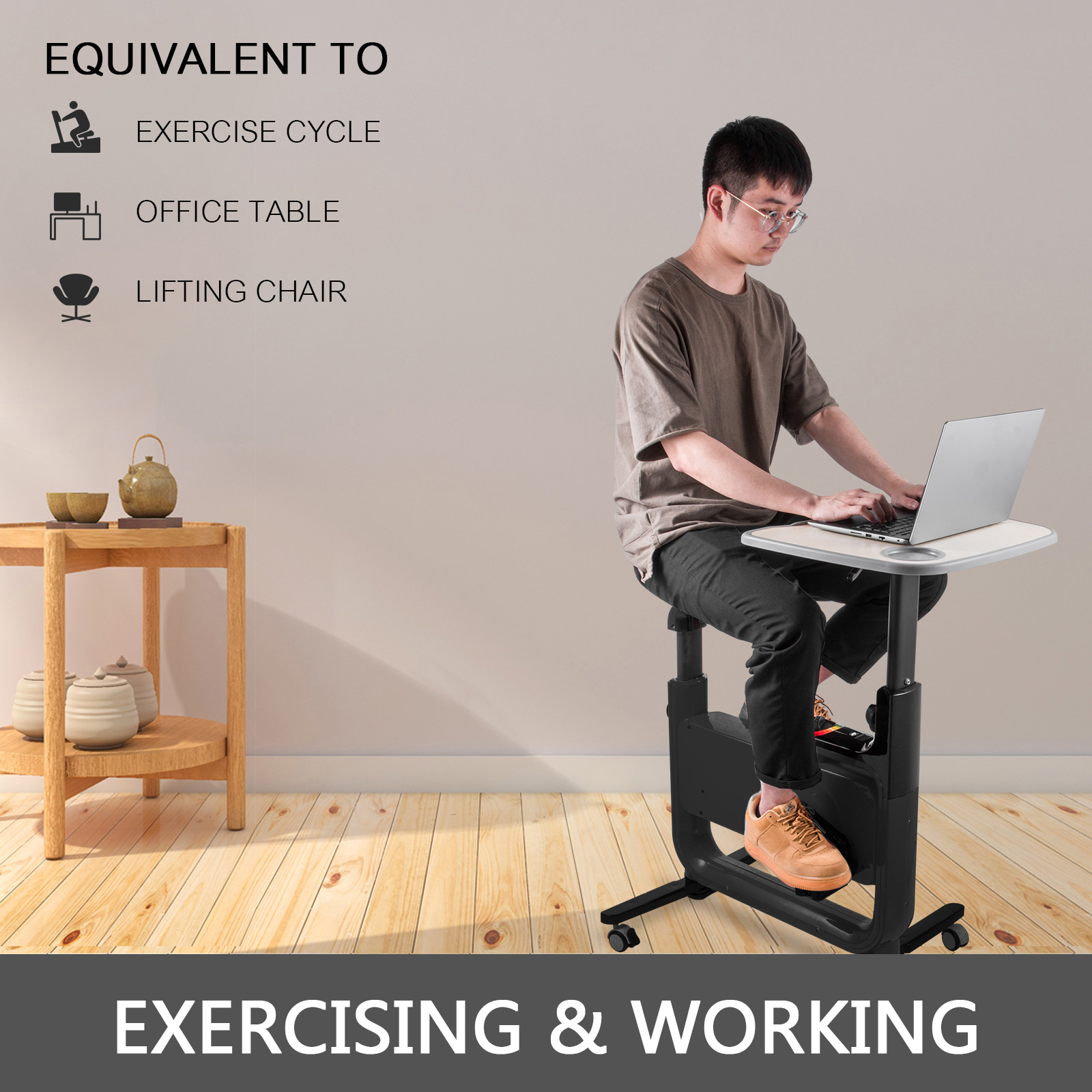 Multi-style-Magnetic-Exercise-Bike-office-Bicycle-under-Desk-Fitness-Cardio miniature 19