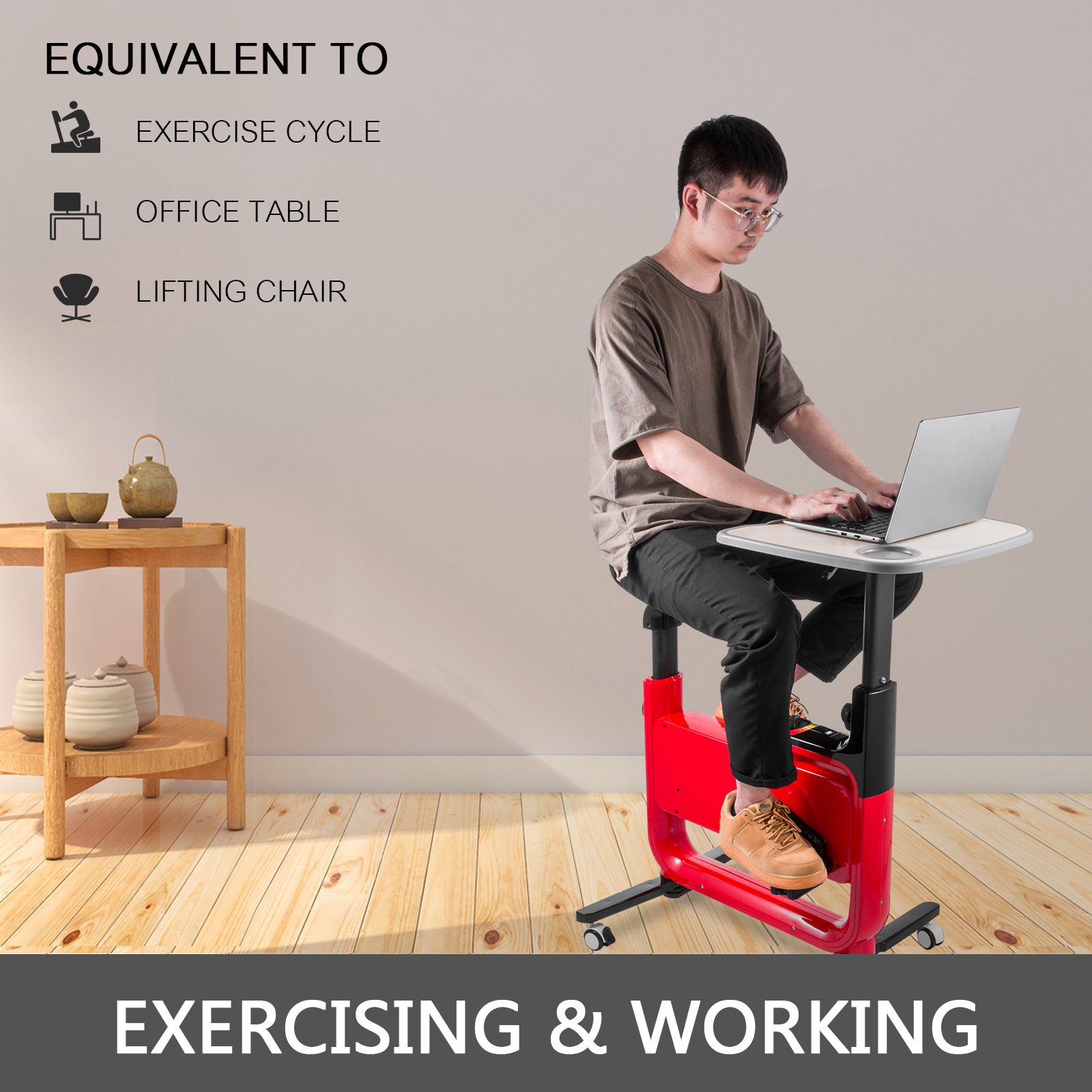 Multi-style-Magnetic-Exercise-Bike-office-Bicycle-under-Desk-Fitness-Cardio miniature 31
