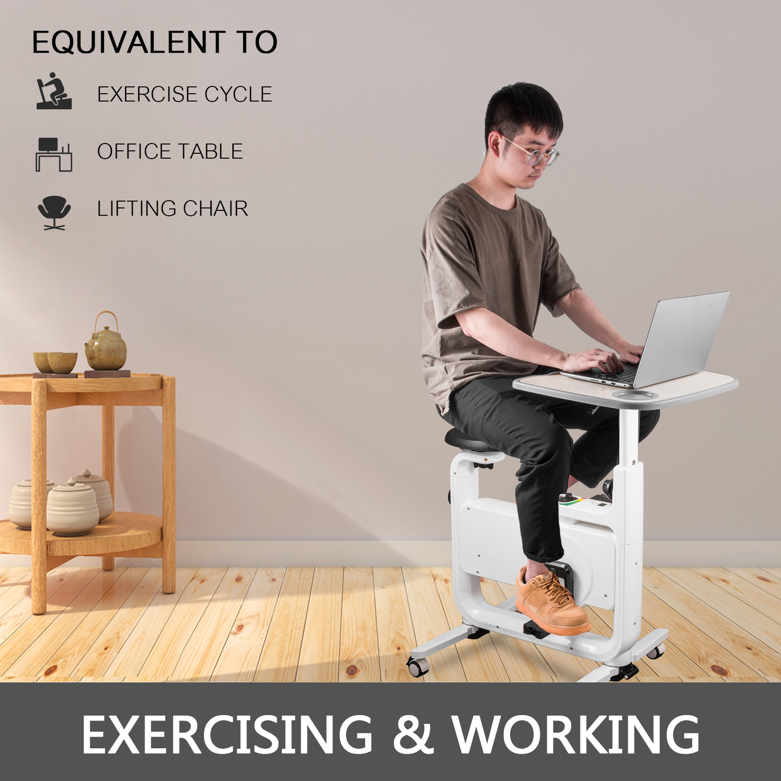 Multi-style-Magnetic-Exercise-Bike-office-Bicycle-under-Desk-Fitness-Cardio miniature 43