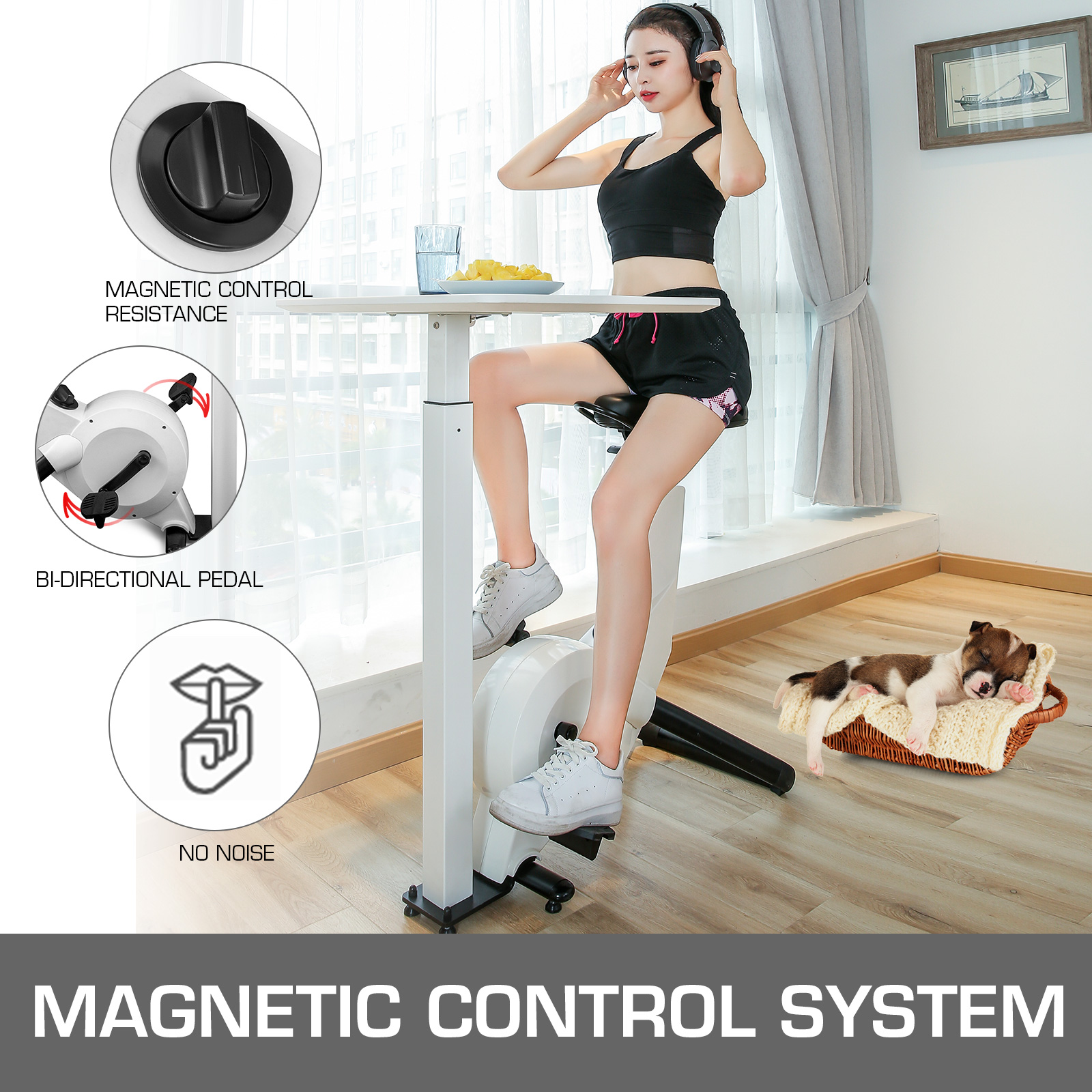Multi-style-Magnetic-Exercise-Bike-office-Bicycle-under-Desk-Fitness-Cardio miniature 112