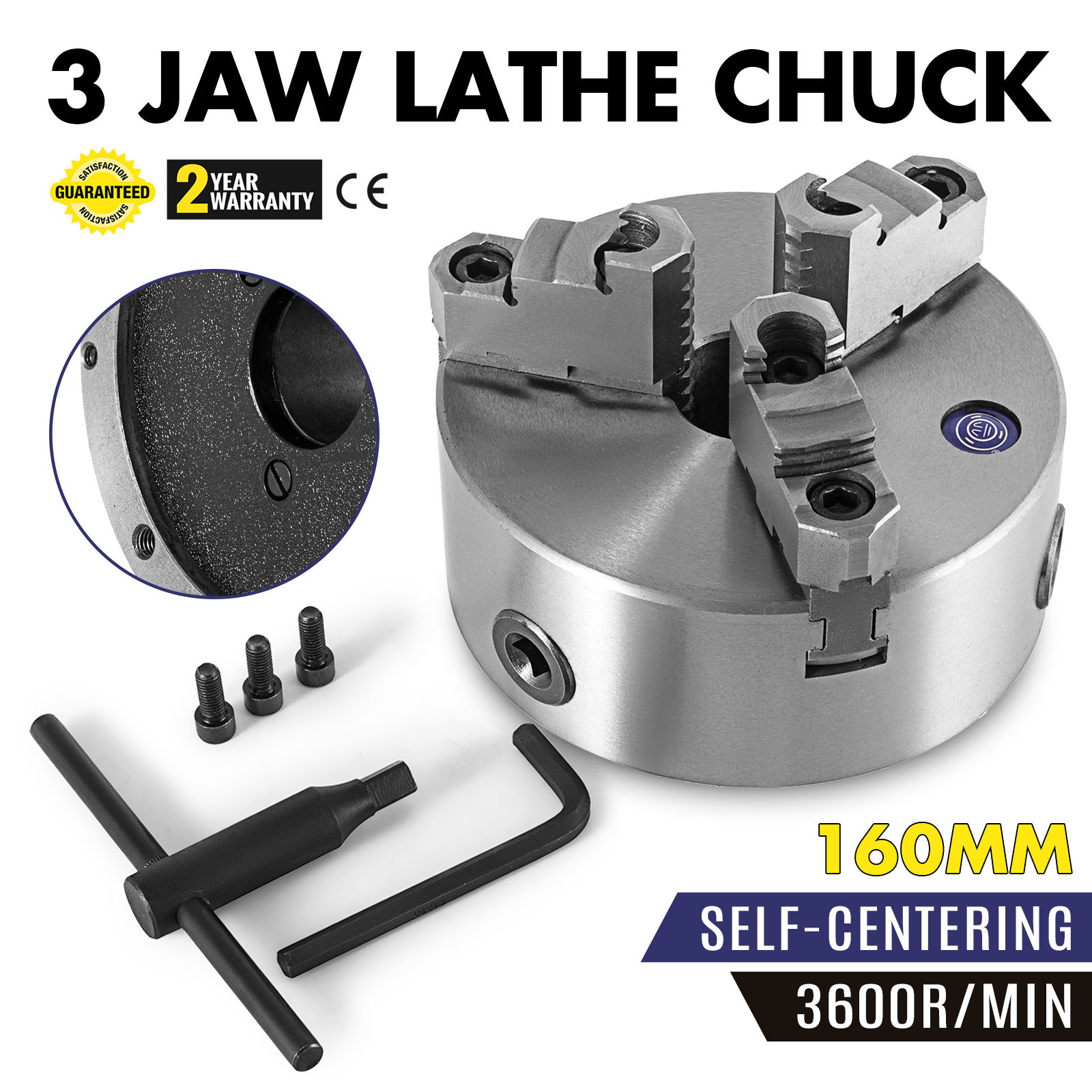160-400mm-3-Jaw-Metal-Lathe-Chuck-Reversible-Independent-Key-Handle thumbnail 13