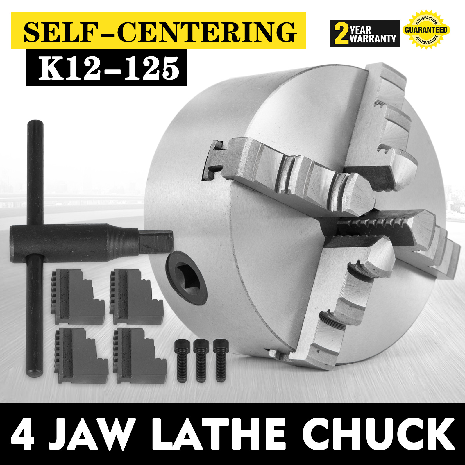 "K12-125 125mm 5/"" 4 Jaw Lathe Chuck Reversible Design Self Centering Milling"