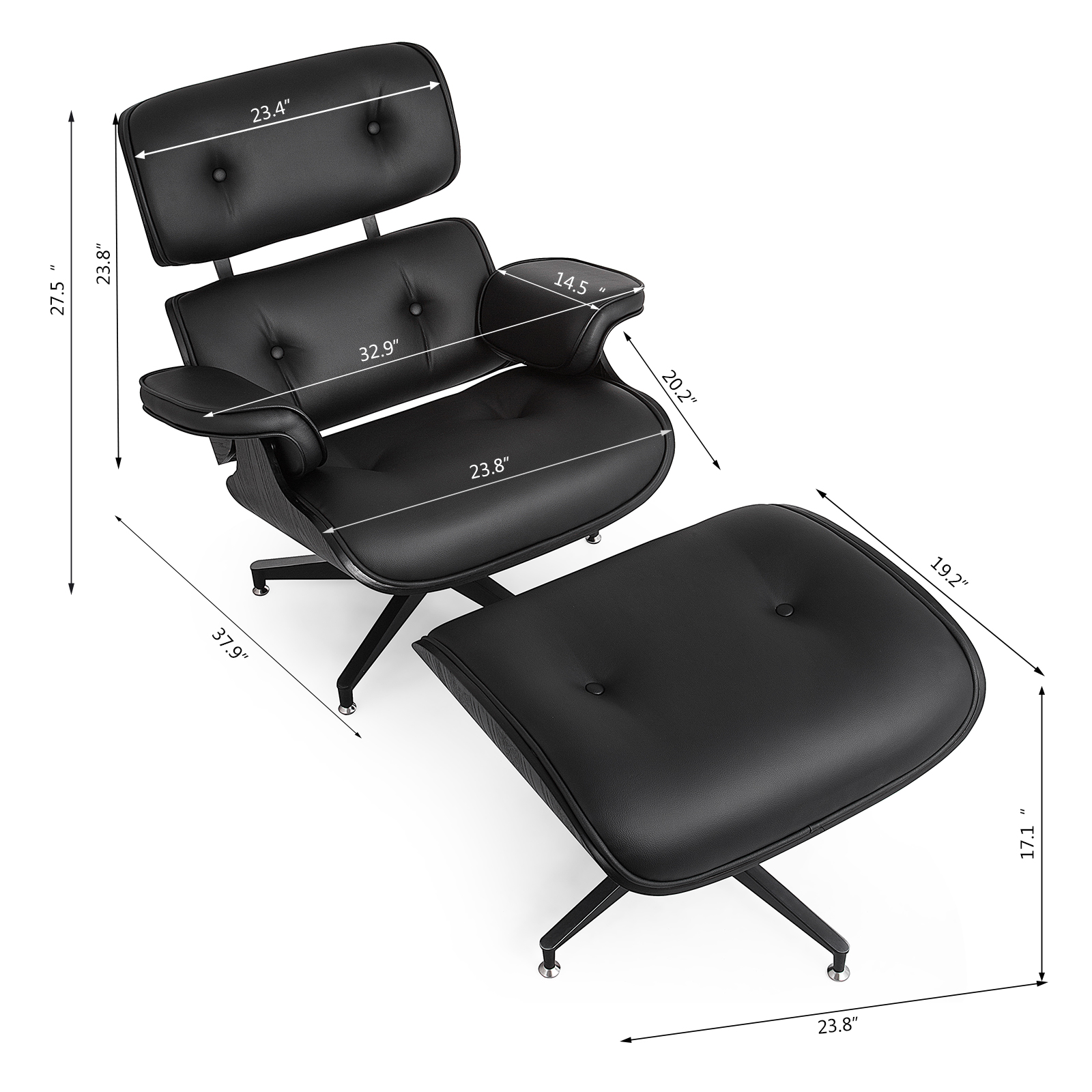Classic Eames Style Lounge Chair Amp Ottoman Recliner
