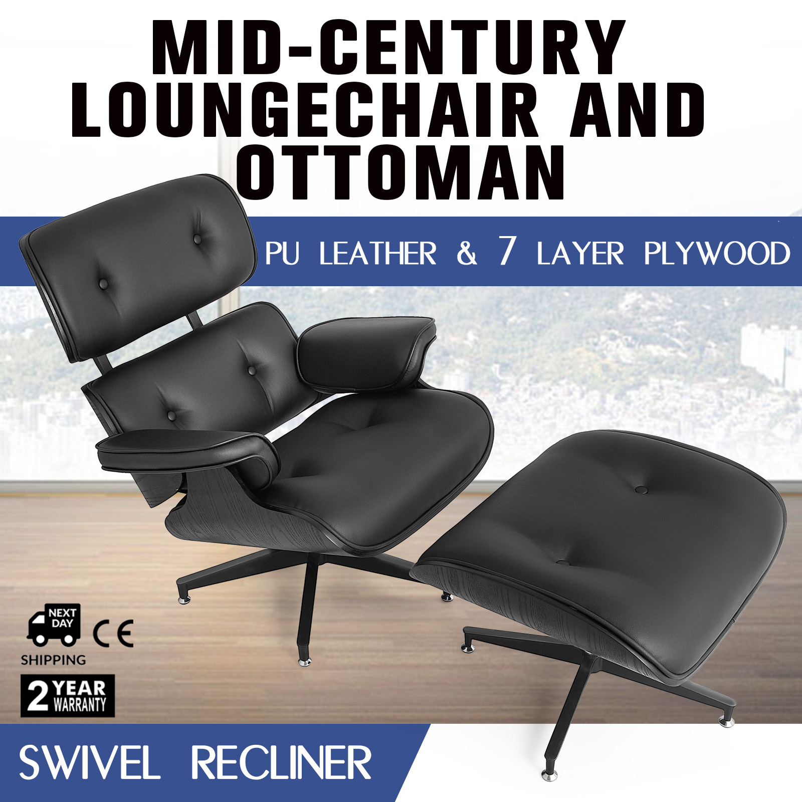 Fantastic Details About Modern Mid Century Classic Lounge Chair Ottoman 100 Pu Leather Black Gmtry Best Dining Table And Chair Ideas Images Gmtryco