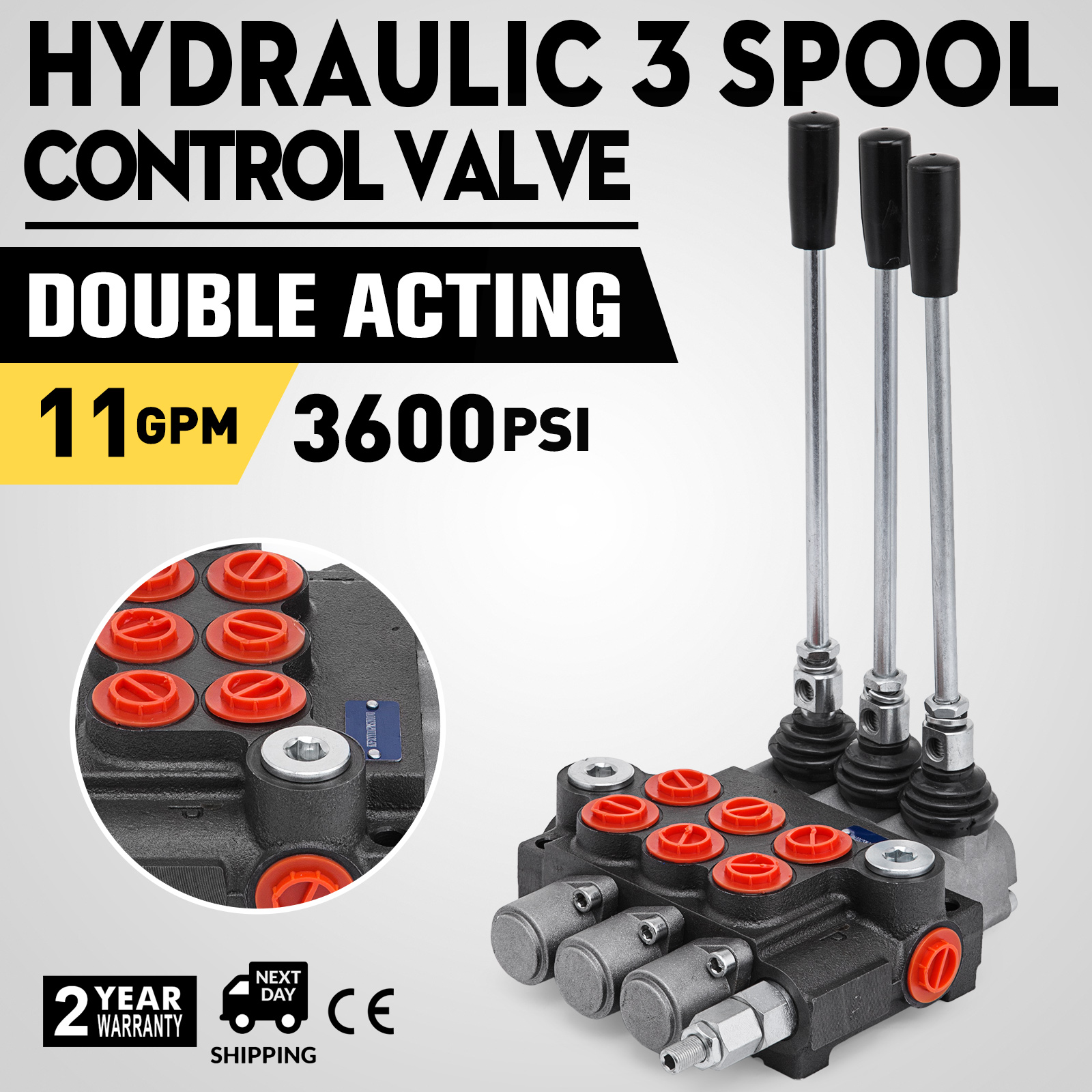 double acting cylinder spool 2 spool hydraulic directional control valve 21gpm
