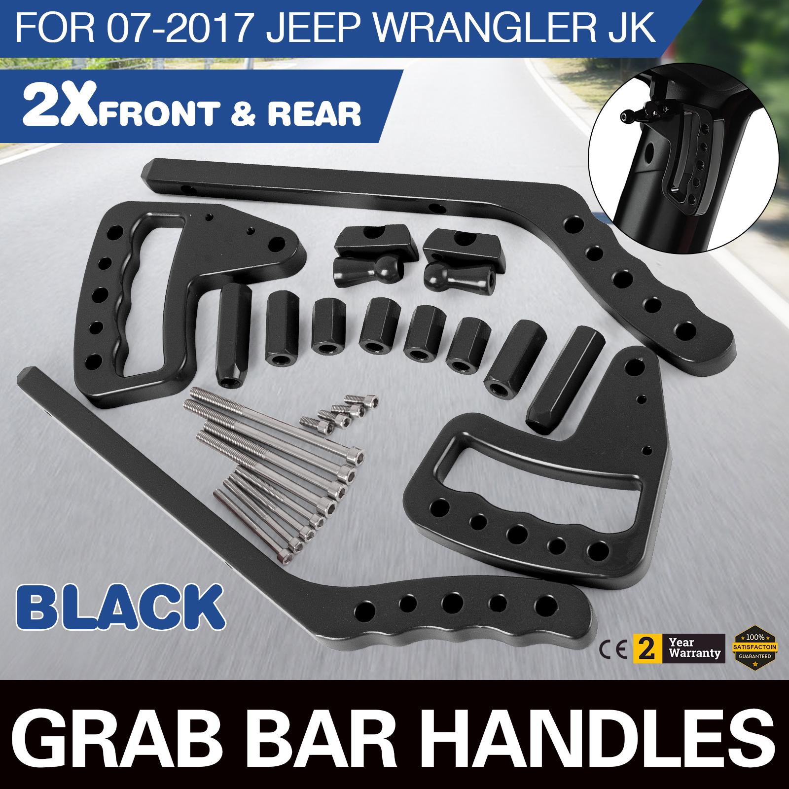 Black Front/&Rear Grab Bar Steel Grab Handle Kit for 2007-2017 Jeep Wrangler JK