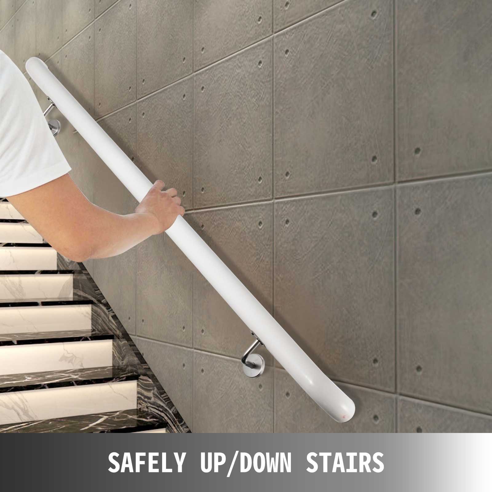 Stair-Handrail-Stair-Rail-Aluminum-Indoor-Handrail-for-Stairs-3-16-039-White-200lbs thumbnail 15