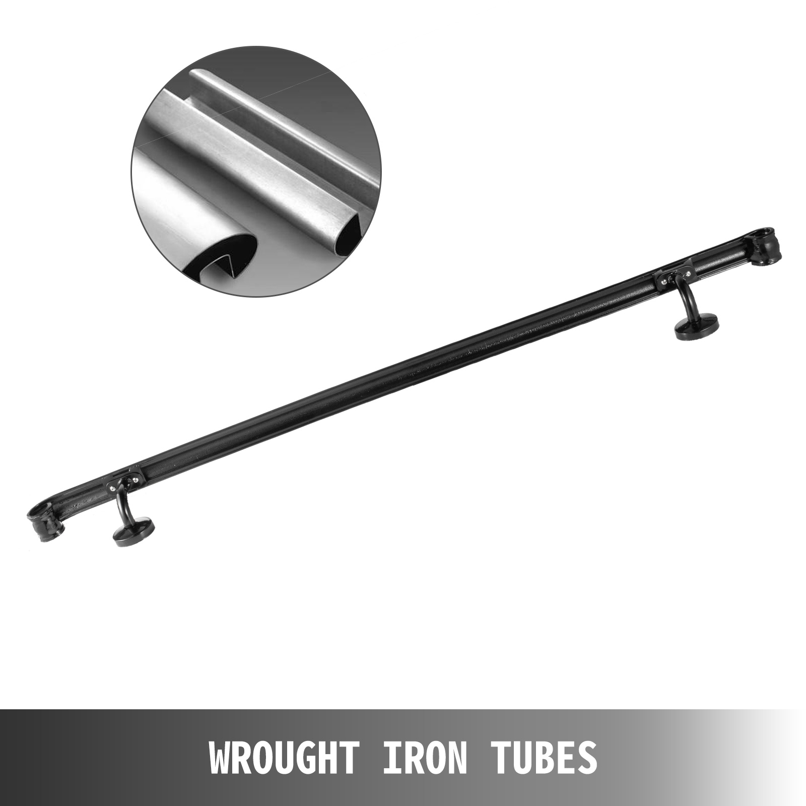 Stair-Handrail-Stair-Rail-2ft-5ft-Two-Five-Step-Handrail-for-Stairs-Wrought-Iron thumbnail 14