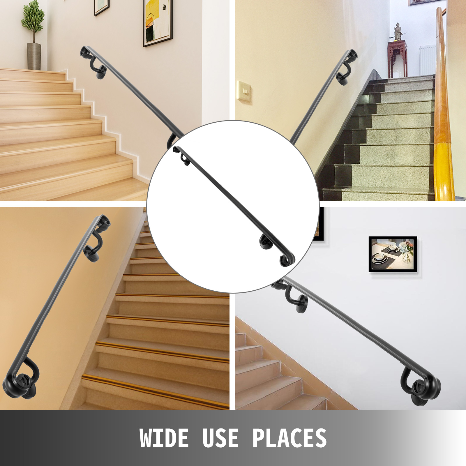 Main Courante Escalier Corde détails sur rampe d'escalier main courante noir 152cm mur support intérieur  en fer forgé