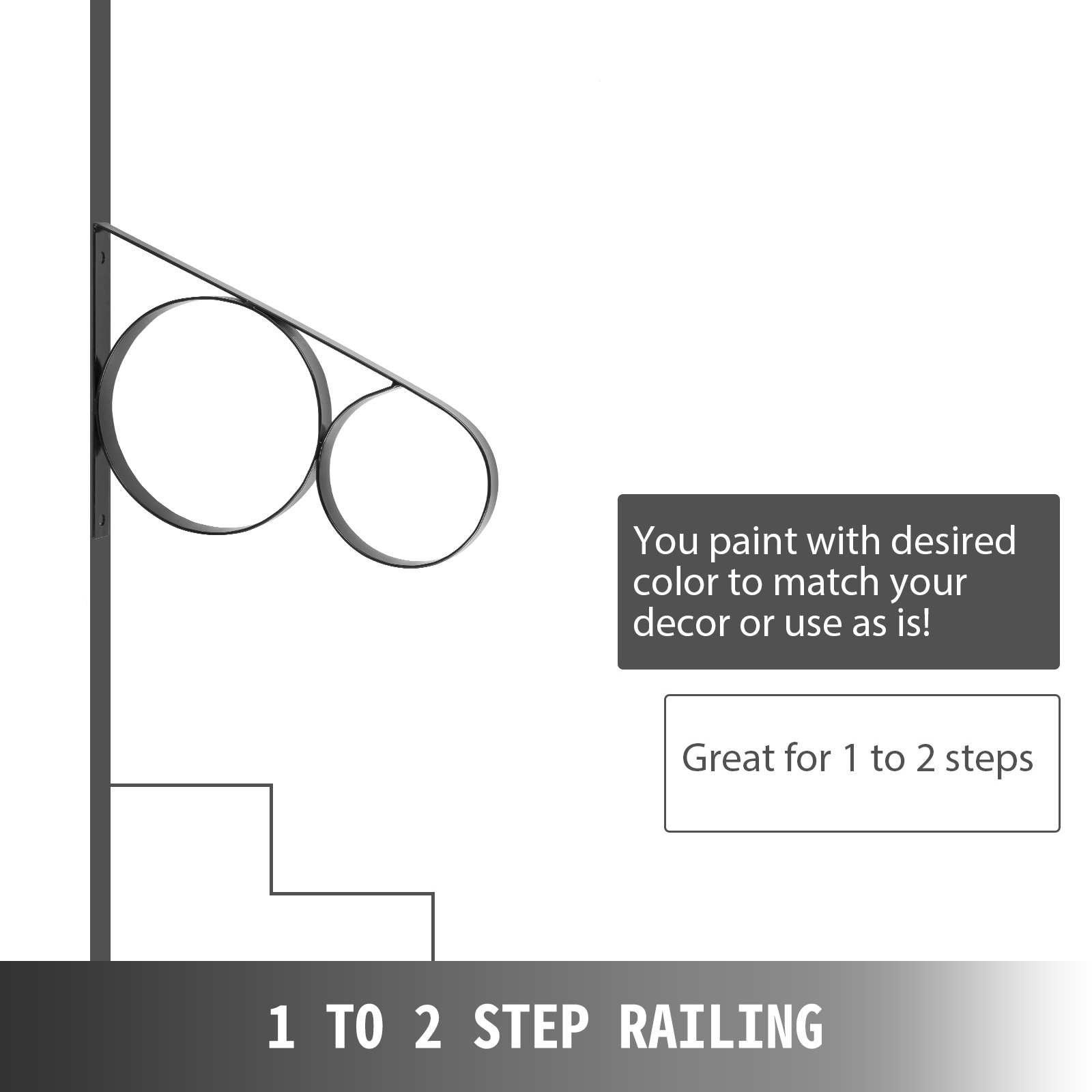 Handrails-for-Outdoor-Step-Wrought-Iron-Handrail-20-034-Length-Porch-Deck-Railing thumbnail 27
