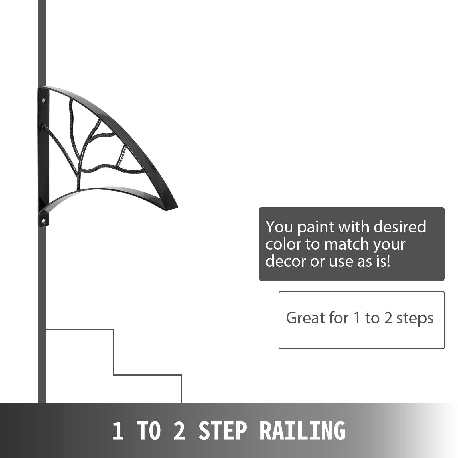 Handrails-for-Outdoor-Step-Wrought-Iron-Handrail-20-034-Length-Porch-Deck-Railing thumbnail 39