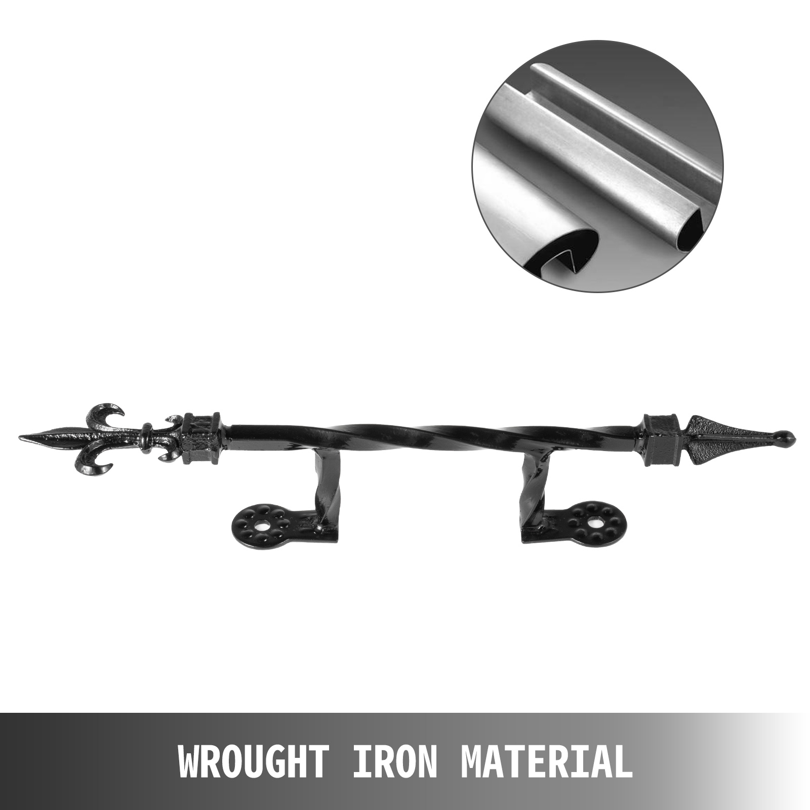 Handrails-for-Outdoor-Step-Wrought-Iron-Handrail-20-034-Length-Porch-Deck-Railing thumbnail 74