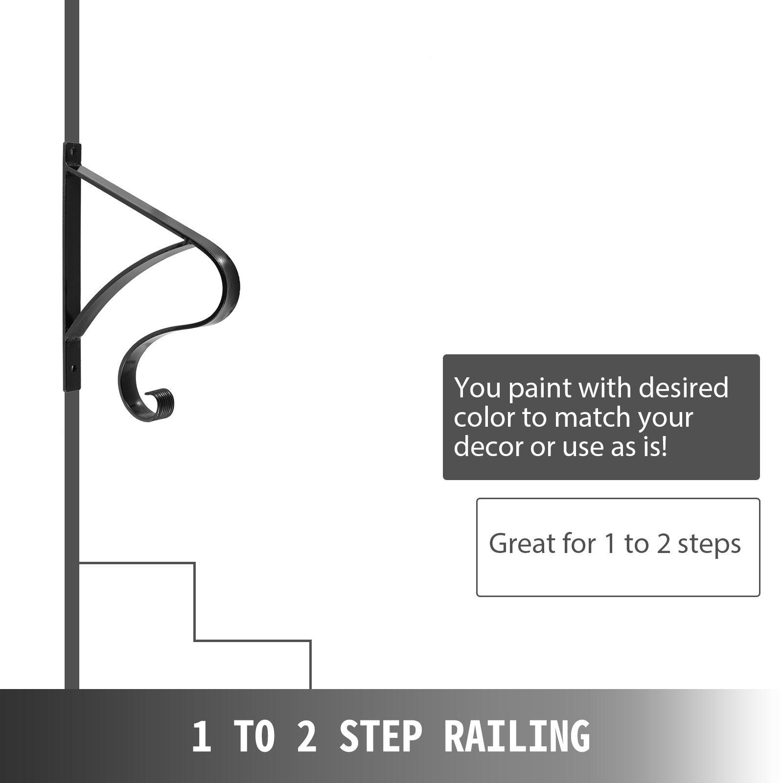 Handrails-for-Outdoor-Step-Wrought-Iron-Handrail-20-034-Length-Porch-Deck-Railing thumbnail 99