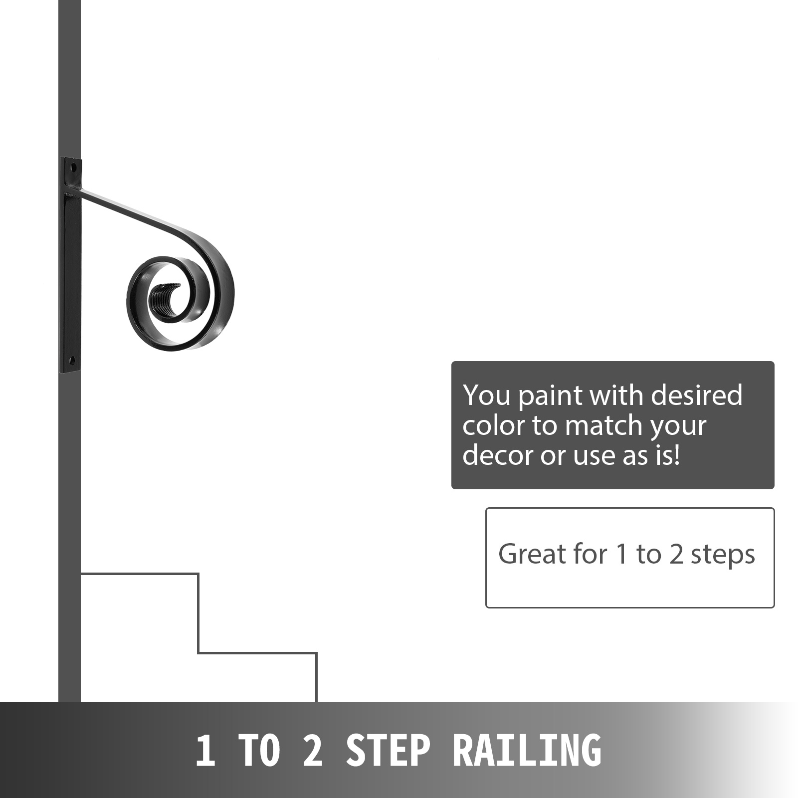 Handrails-for-Outdoor-Step-Wrought-Iron-Handrail-20-034-Length-Porch-Deck-Railing thumbnail 123
