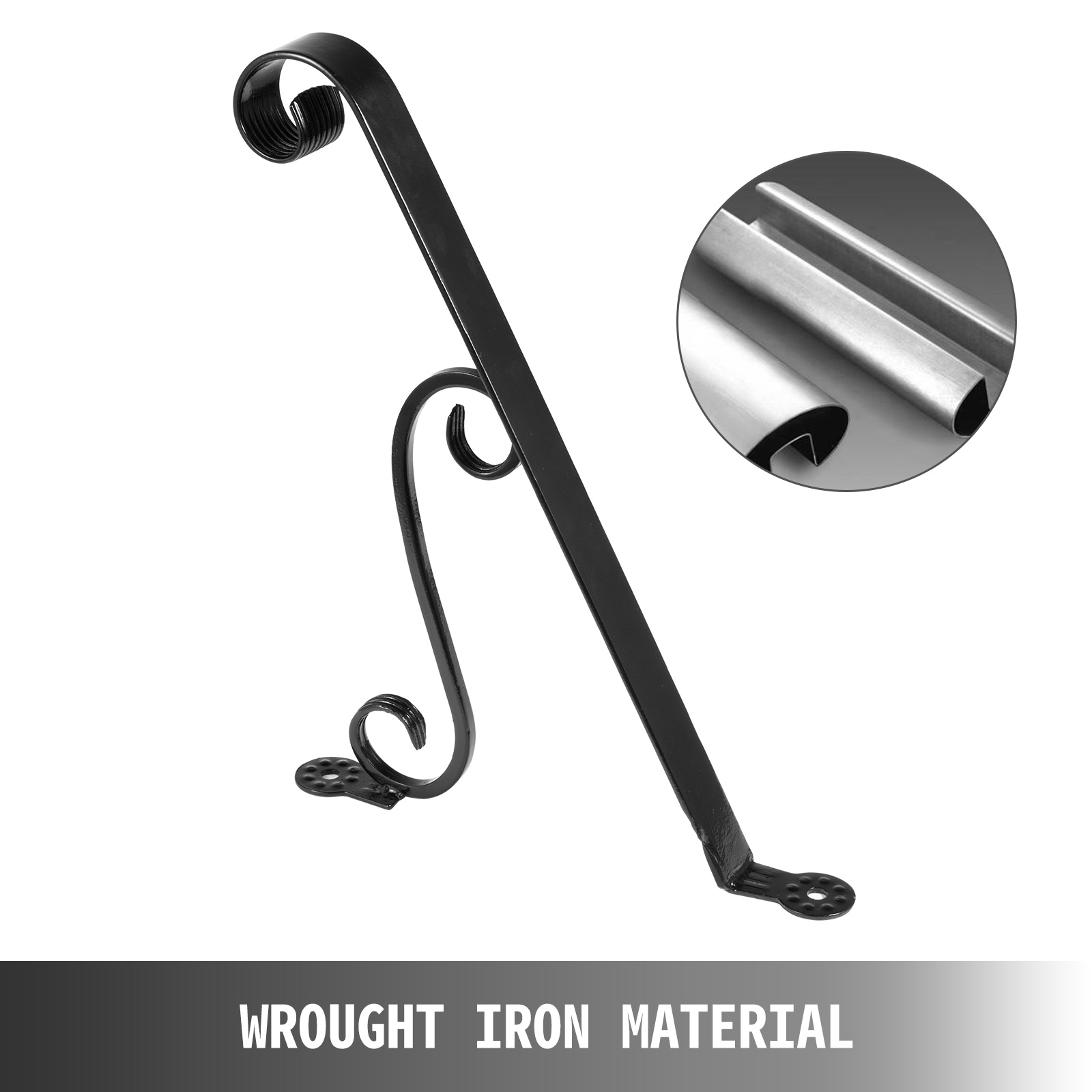 Handrails-for-Outdoor-Step-Wrought-Iron-Handrail-20-034-Length-Porch-Deck-Railing thumbnail 134