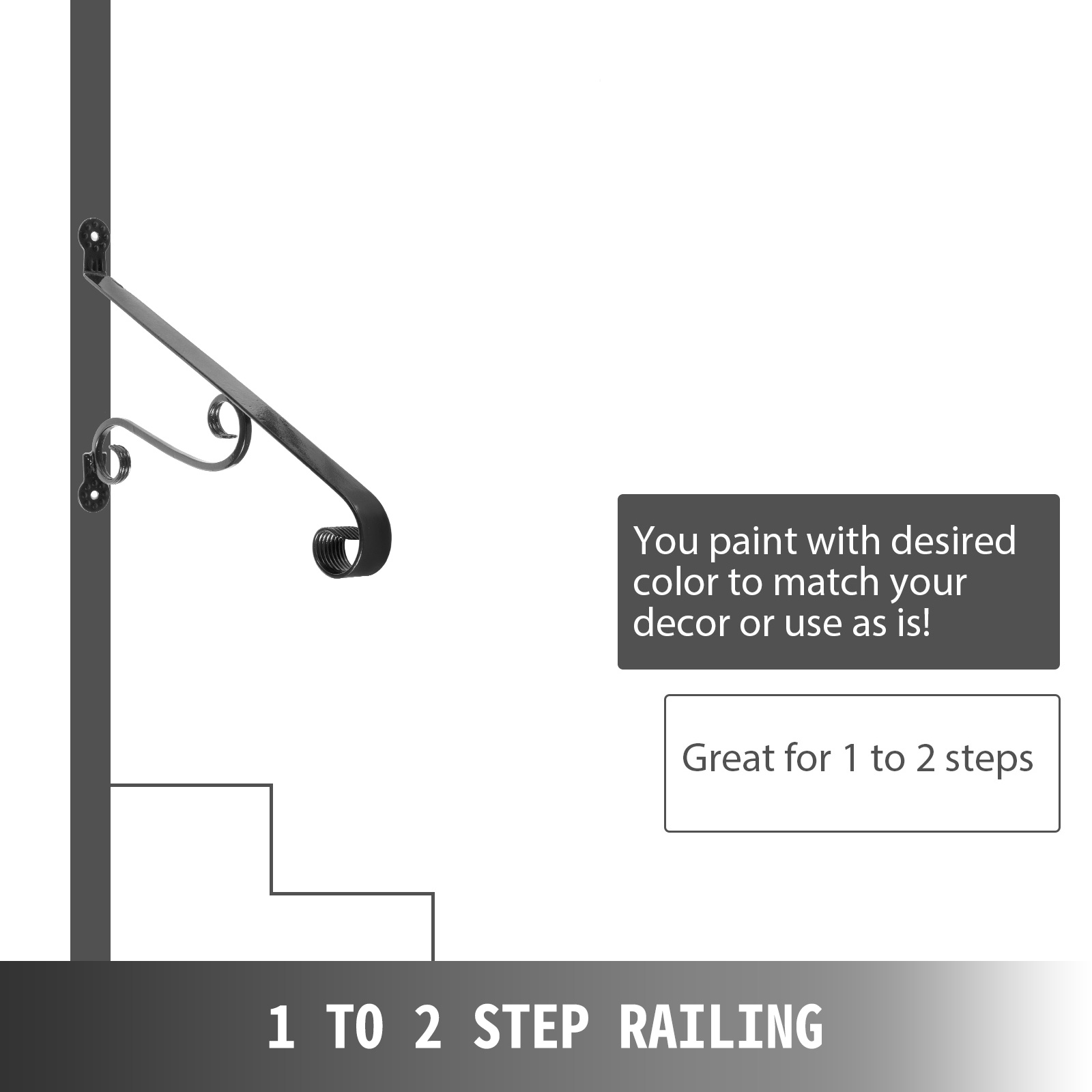Handrails-for-Outdoor-Step-Wrought-Iron-Handrail-20-034-Length-Porch-Deck-Railing thumbnail 135
