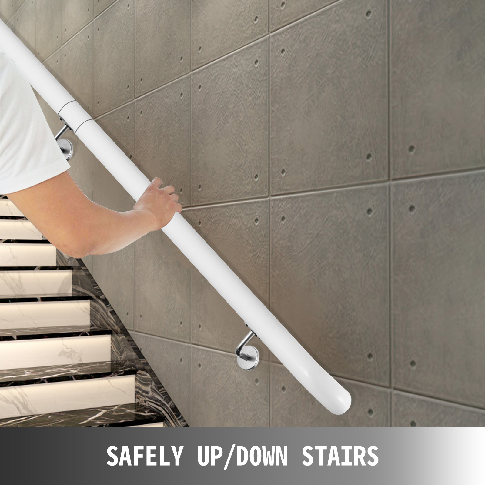 Stair-Handrail-Stair-Rail-Aluminum-Indoor-Handrail-for-Stairs-3-16-039-White-200lbs thumbnail 135
