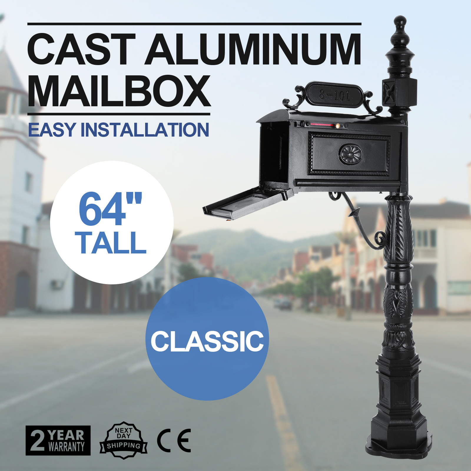 Heavy Duty Mailbox Classic Aluminum Mail Box Postal Vertical Pedestal