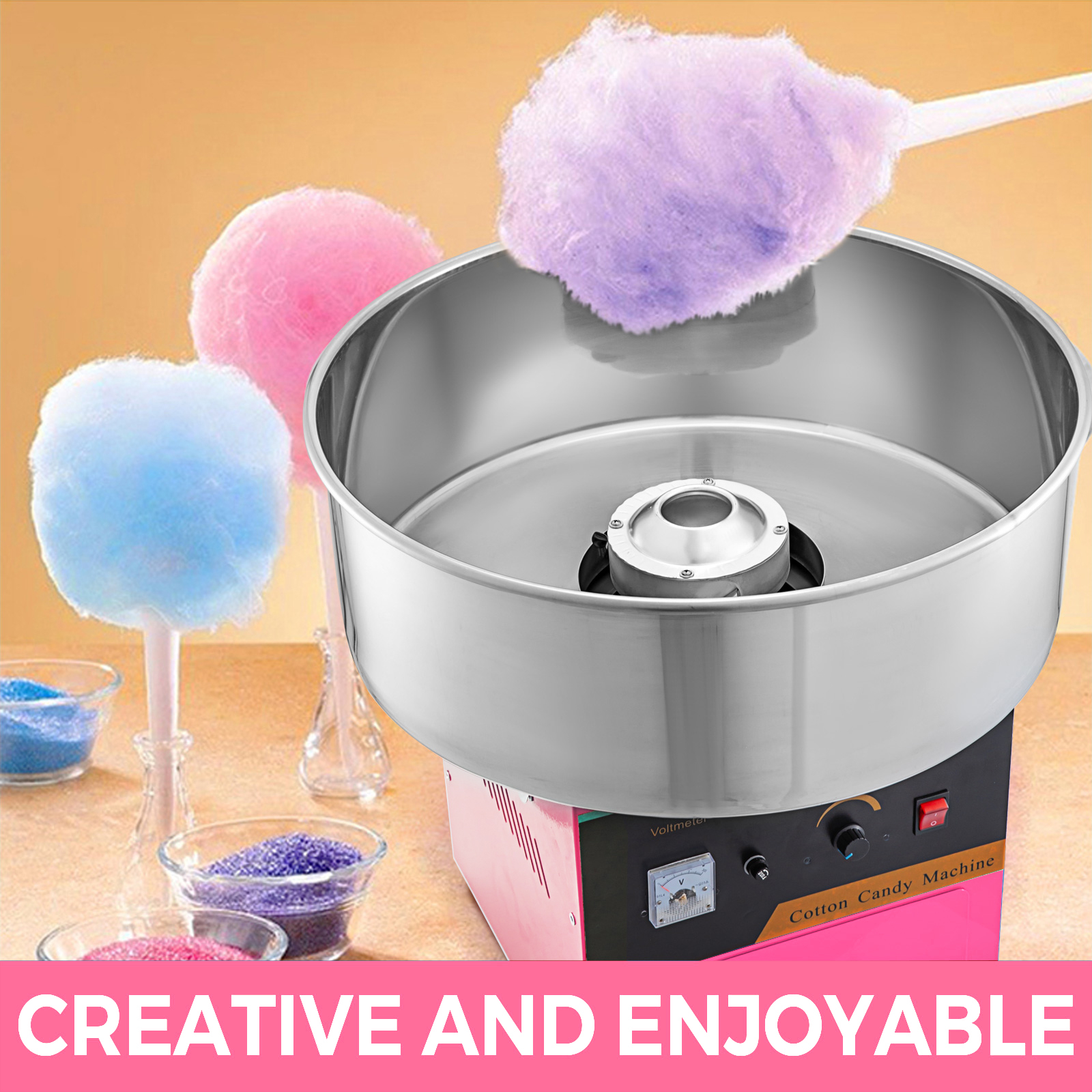 1030W Electric Cotton Candy Machine With Cover Fairy Floss Maker Party Supplies