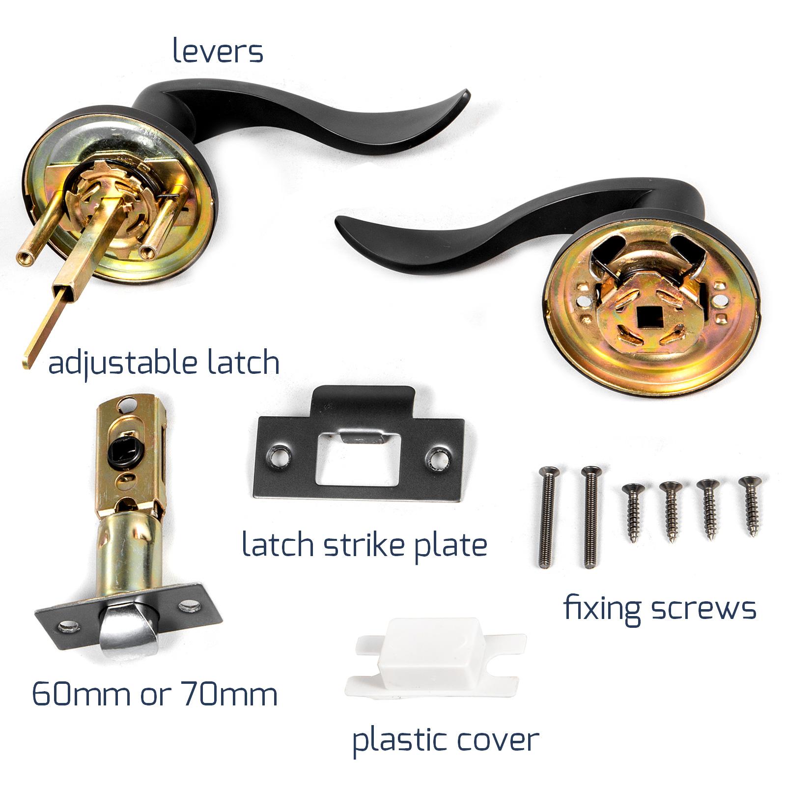 Door-Handles-Matte-Black-Door-Lever-3-5-10-Pack-Passage-Privace-Entry-Lock-Set thumbnail 81