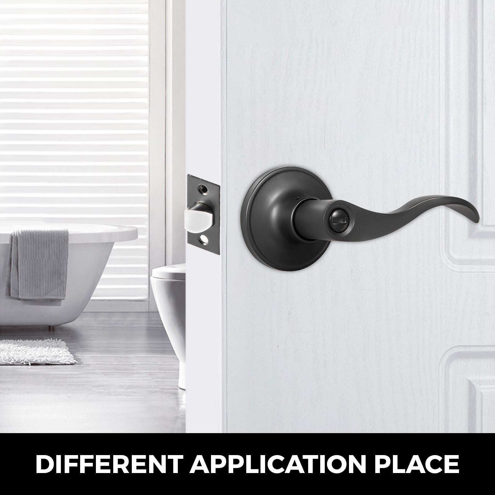 Door-Handles-Matte-Black-Door-Lever-3-5-10-Pack-Passage-Privace-Entry-Lock-Set thumbnail 115