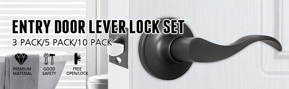 Passage Door Lever Door Handles 3 Pack Door Knob Passage Door Lever Locks Set Door Knobs Levers Home Improvement