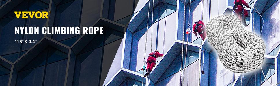Dynamic Climbing Rope Nylon  35M//114ft 9.5mm Single Rock Climbing Robust PRO