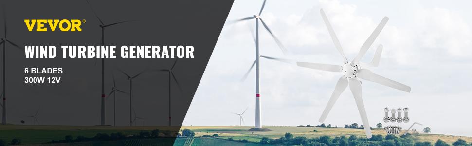 Générateur de Vent éolienne 12V Turbine 300W Vitesse Forte Fibre de carbone