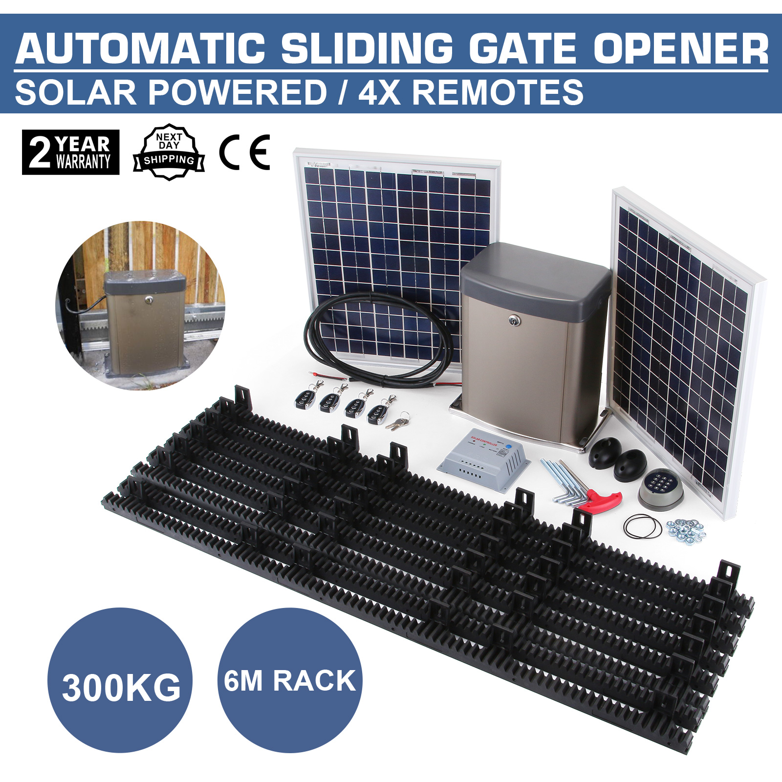 automatic solar sliding gate opener operator 330kg professional wireless keypad 895800994037 ebay. Black Bedroom Furniture Sets. Home Design Ideas