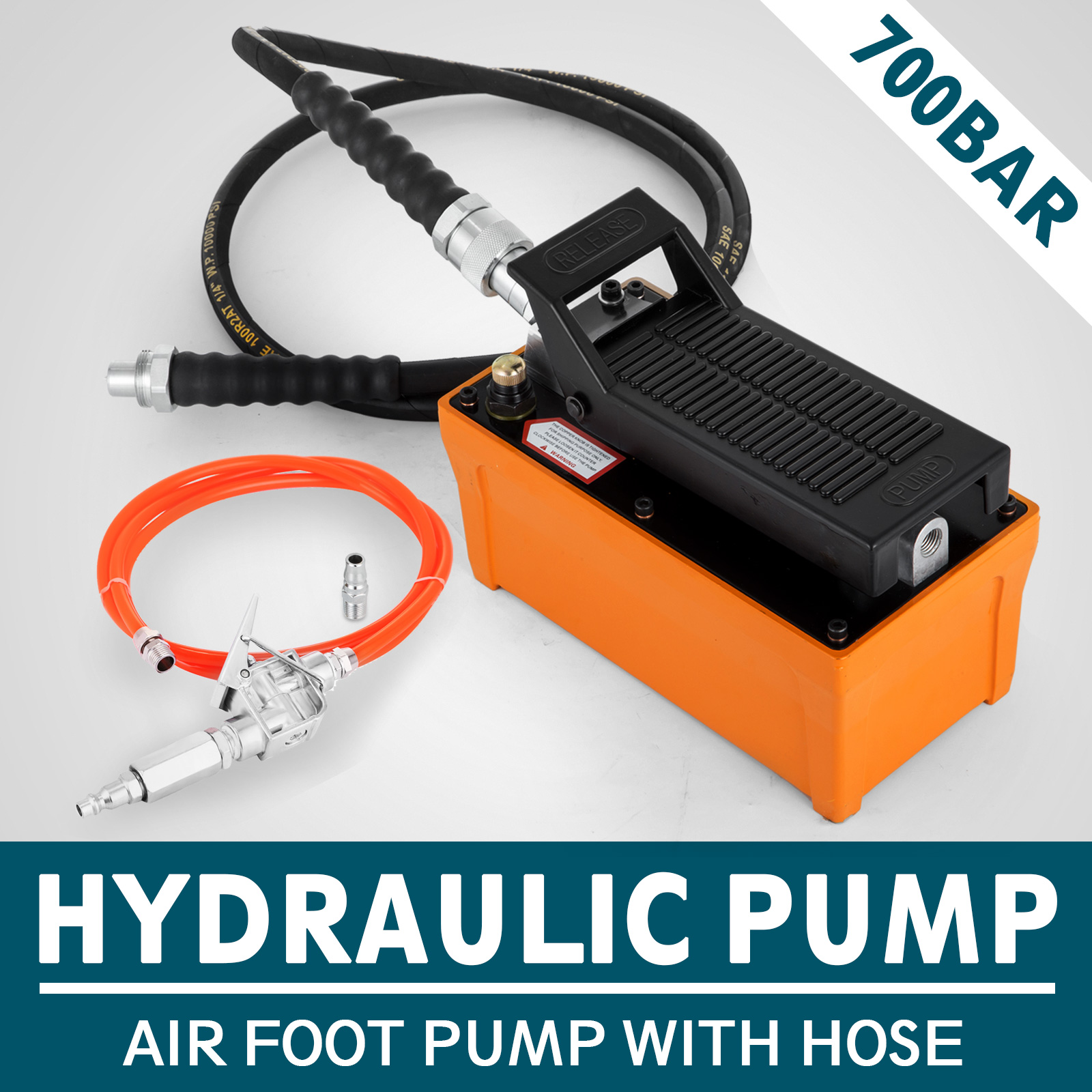 Power-Hydraulic-10000PSI-Air-Foot-Pump-10-Ton-Replacement-Pump-With-Hose miniature 13