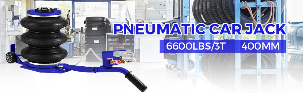 3T Pneumatischer Wagenheber Rangierwagenheber PKW Max400mm 3 Tasche