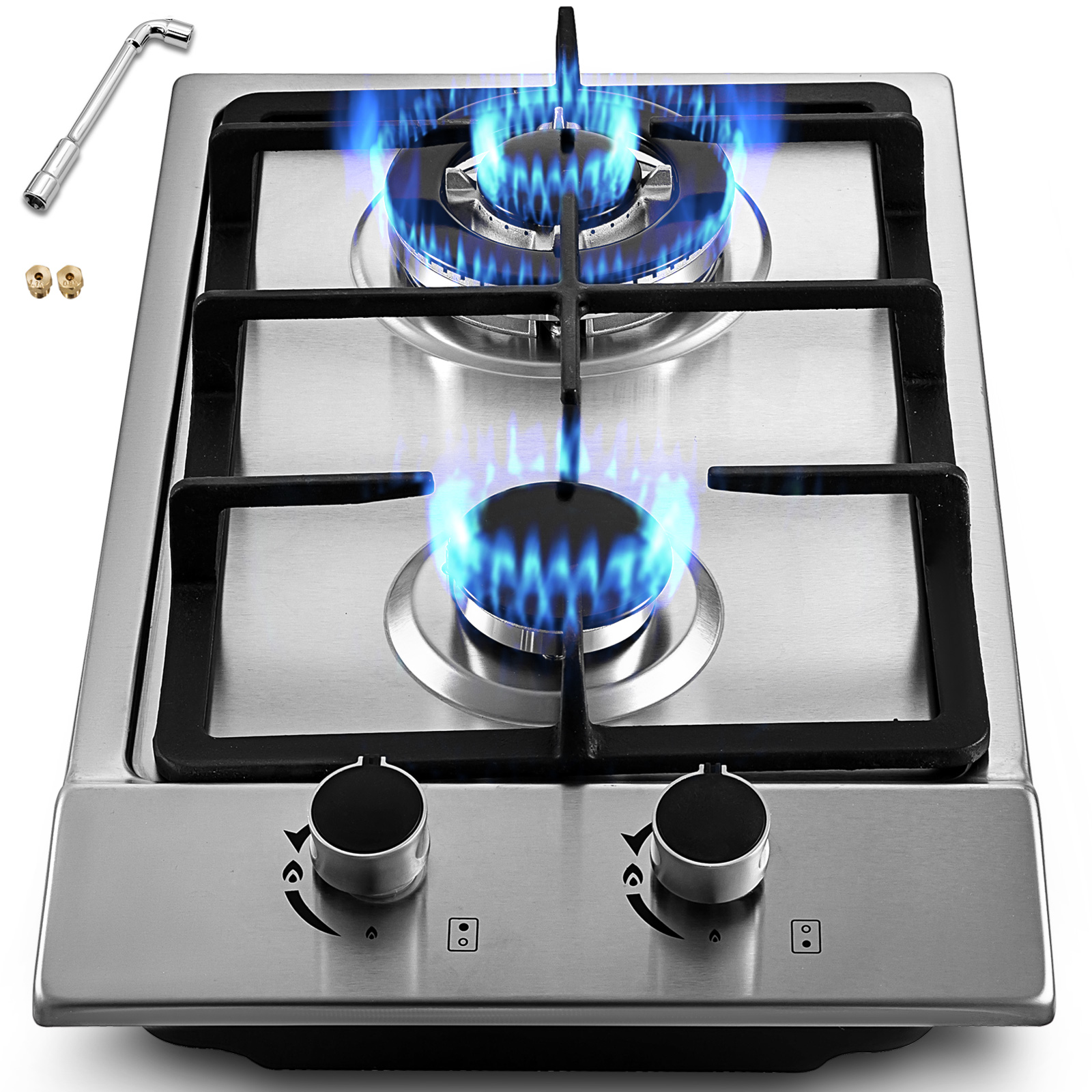 Image Is Loading 12 2 Burners Gas Cooktop Stainless Steel Iron