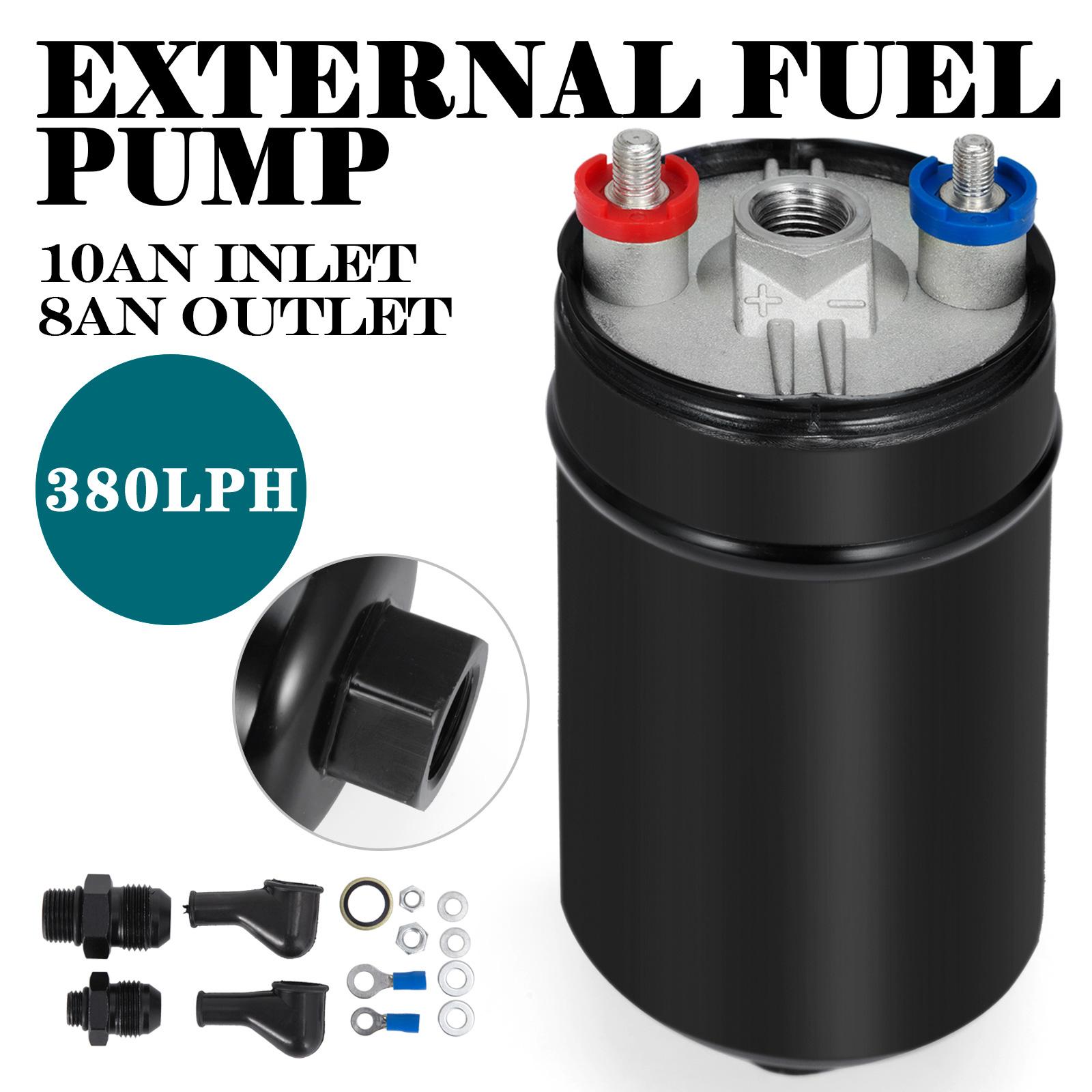 New 380LPH Inline External Fuel Pump 10AN Inlet Check Vavle 8AN Outlett