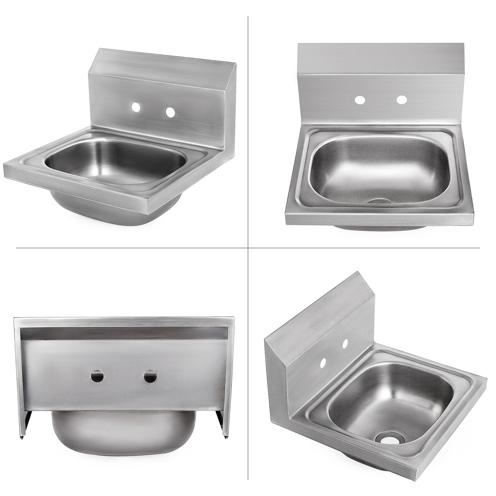 """15.7X 15.4"""" Steel Handmade Single Bowl Sink Commercial Cafe Shop Wall Mount"""