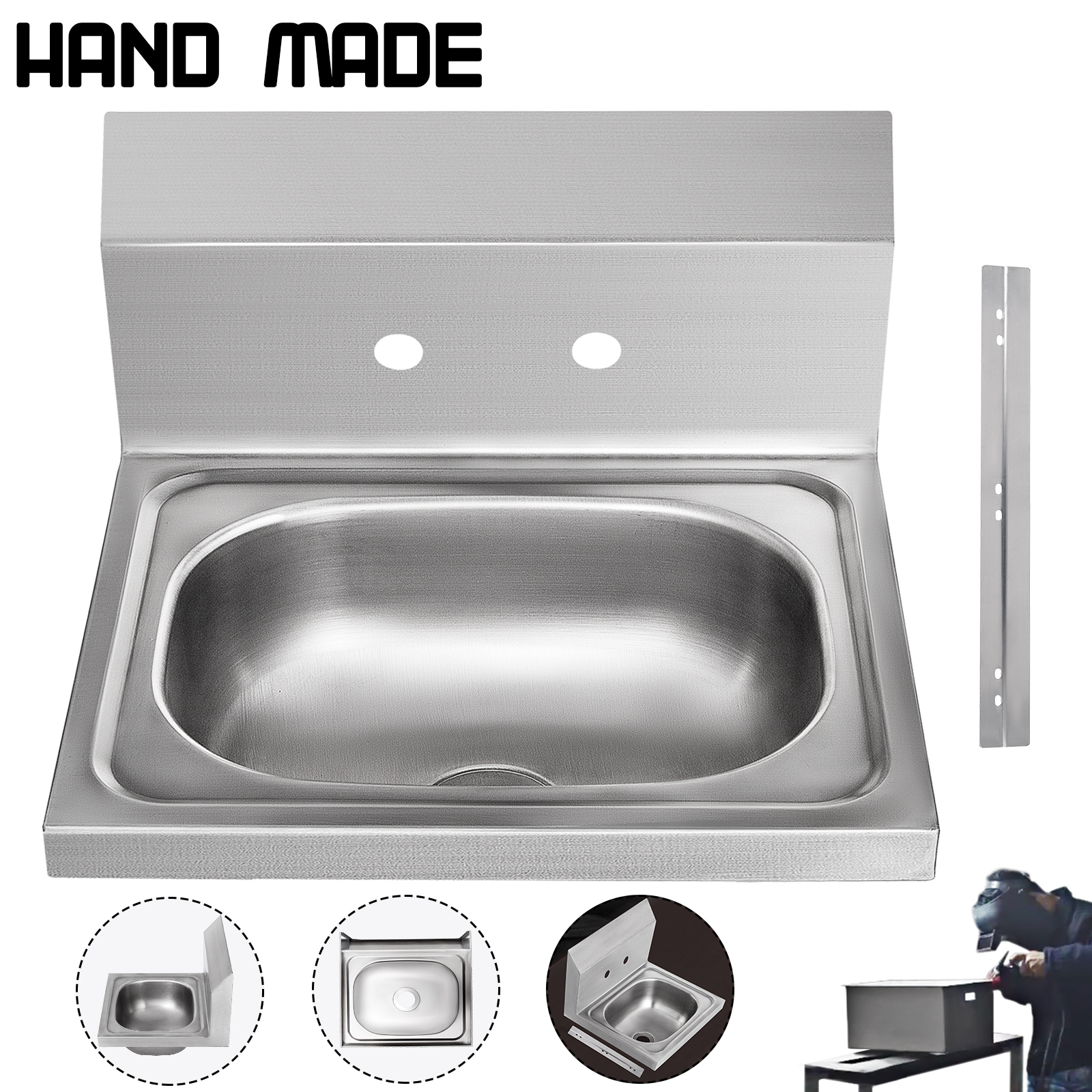 Details about Commercial Wall Mount Kitchen Sink Handmade Washing Sink NSF  Stainless Steel