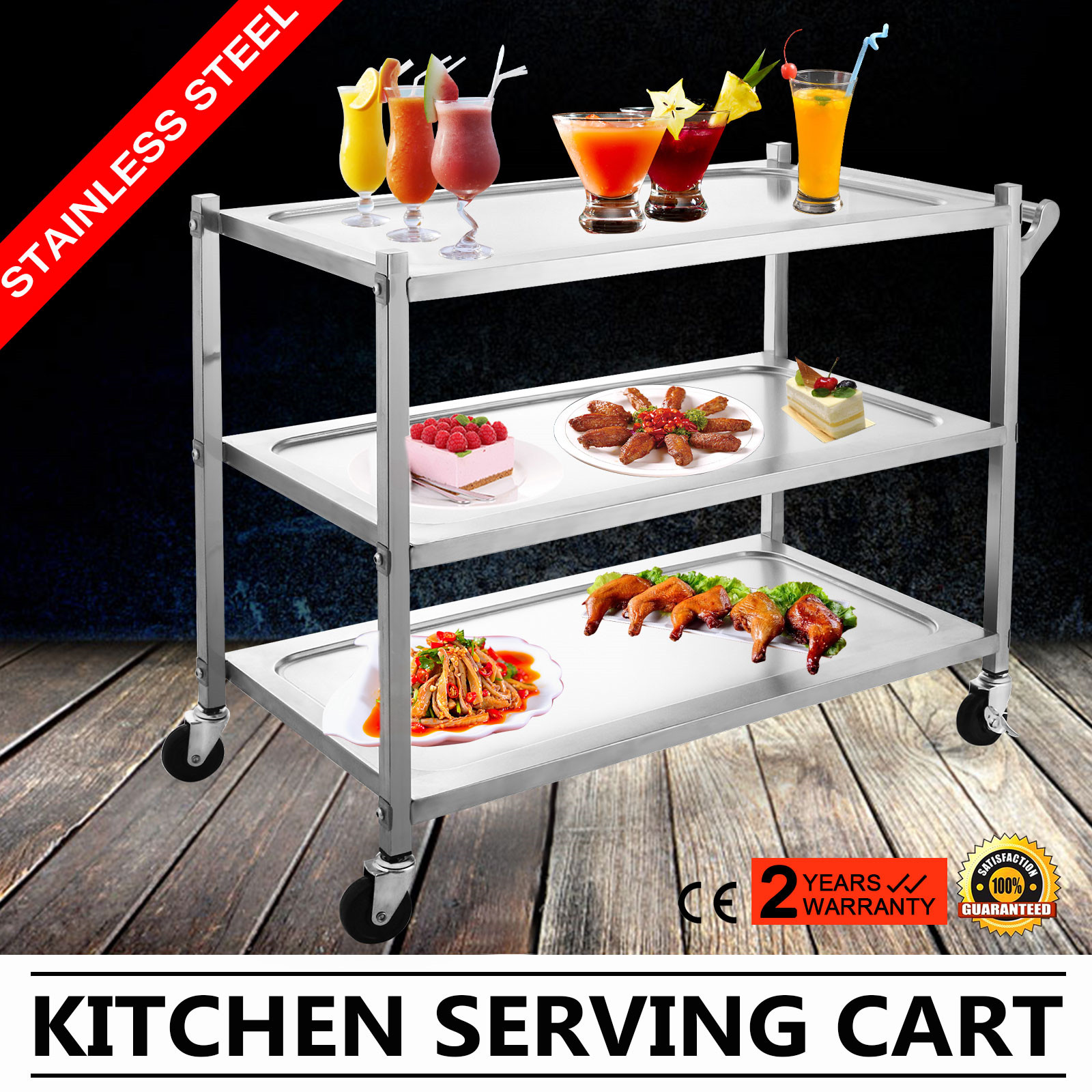 3 Tier Stainless Steel Catering Cart Shop Cart Trolley