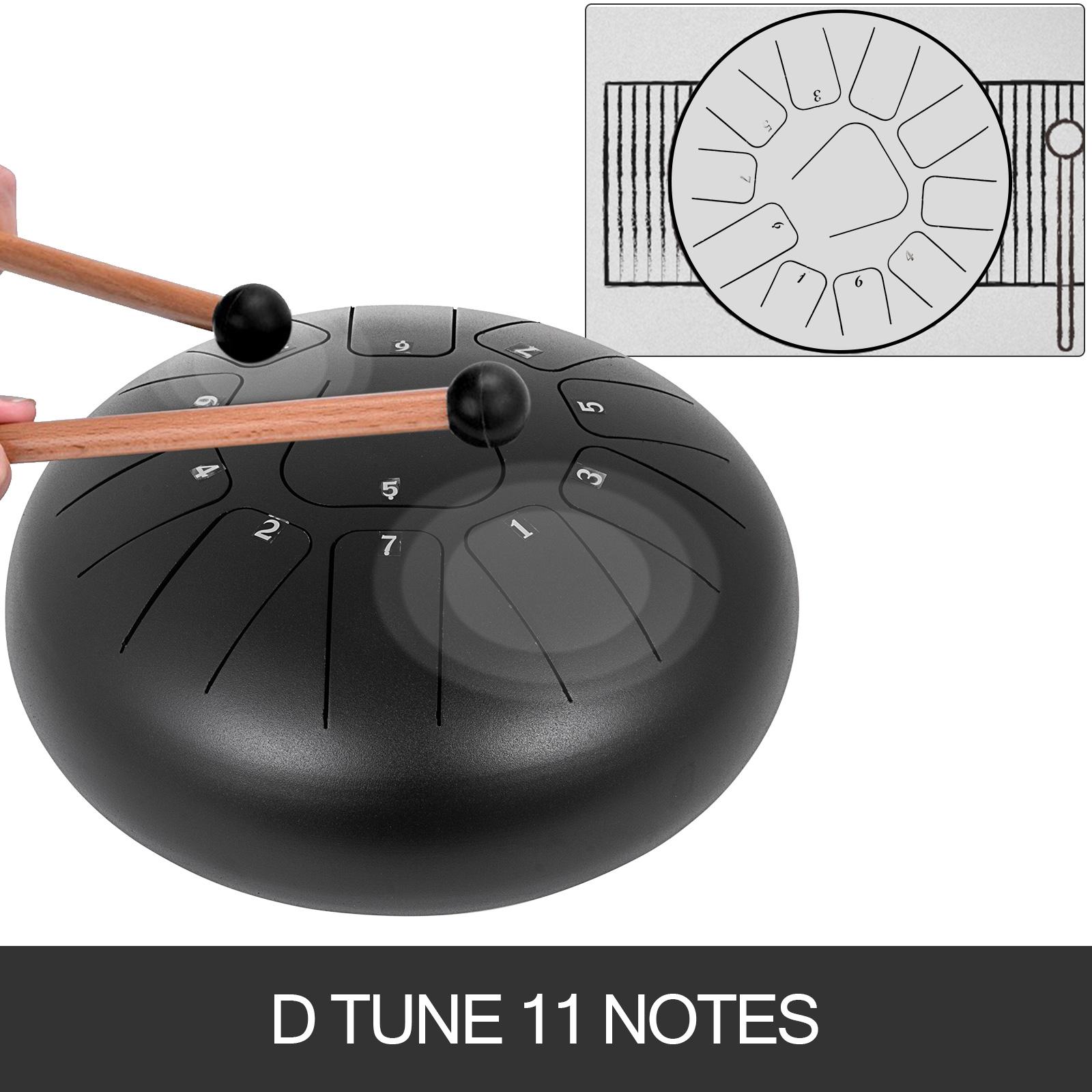 Stahlzungen Trommel Handpan 10/'/' 11 Töne Schlägel Stahlpfanne 10 Zoll Perkussion