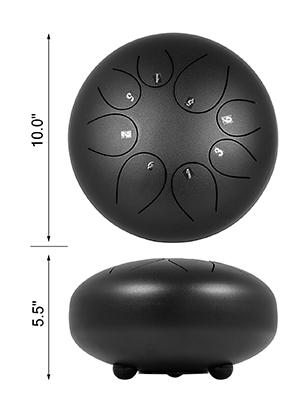 Stahlzungen Trommel Handpan 10/'/' 8 Töne Steel Tongue Drum Schlägel 8 Noten