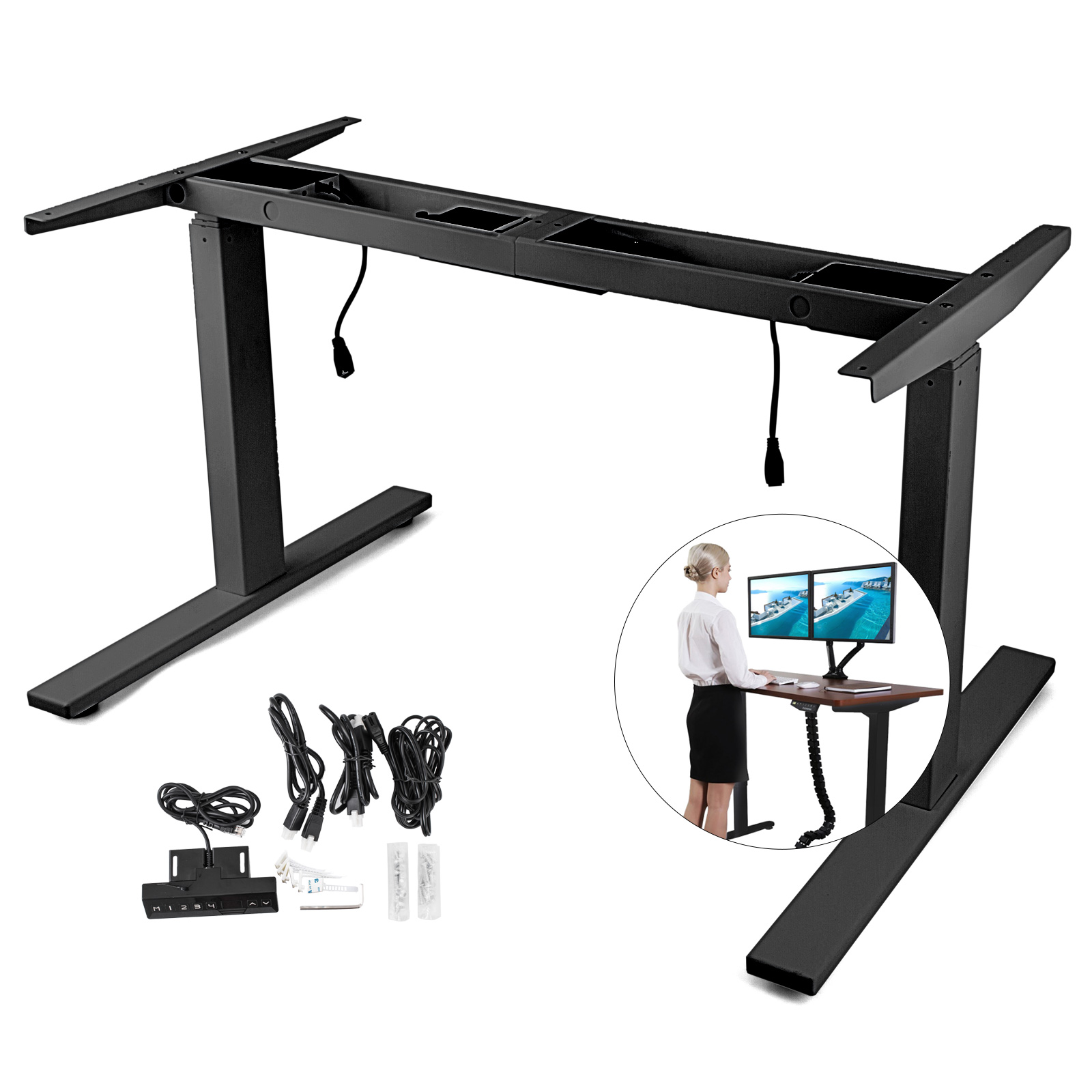 Electric-Sit-Stand-Standing-Desk-Frame-Dual-Motor-Stable-Heavy-Duty-Premium thumbnail 35