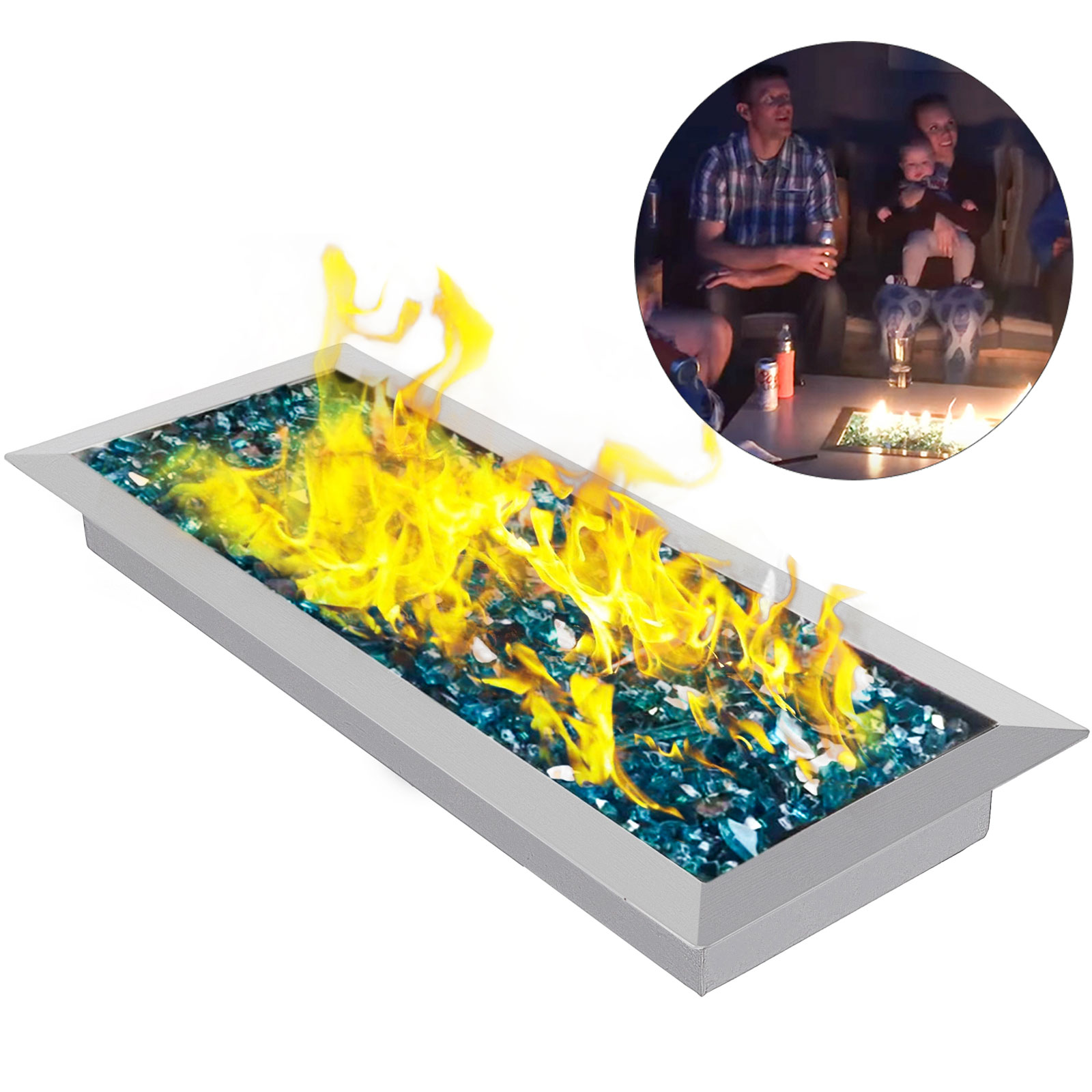 Fire Pit Pan and Burner 20 By 8-Inch Rectangular Bowl Courtyard Drop-In Home