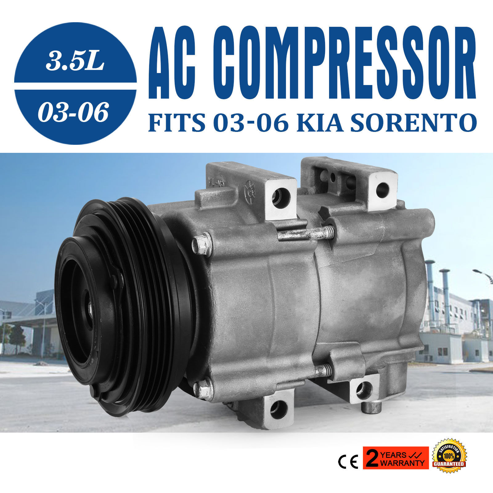 New AC A//C Compressor Kit Fits 03-06 Kia Sorento 3.5L 1 Year Warranty