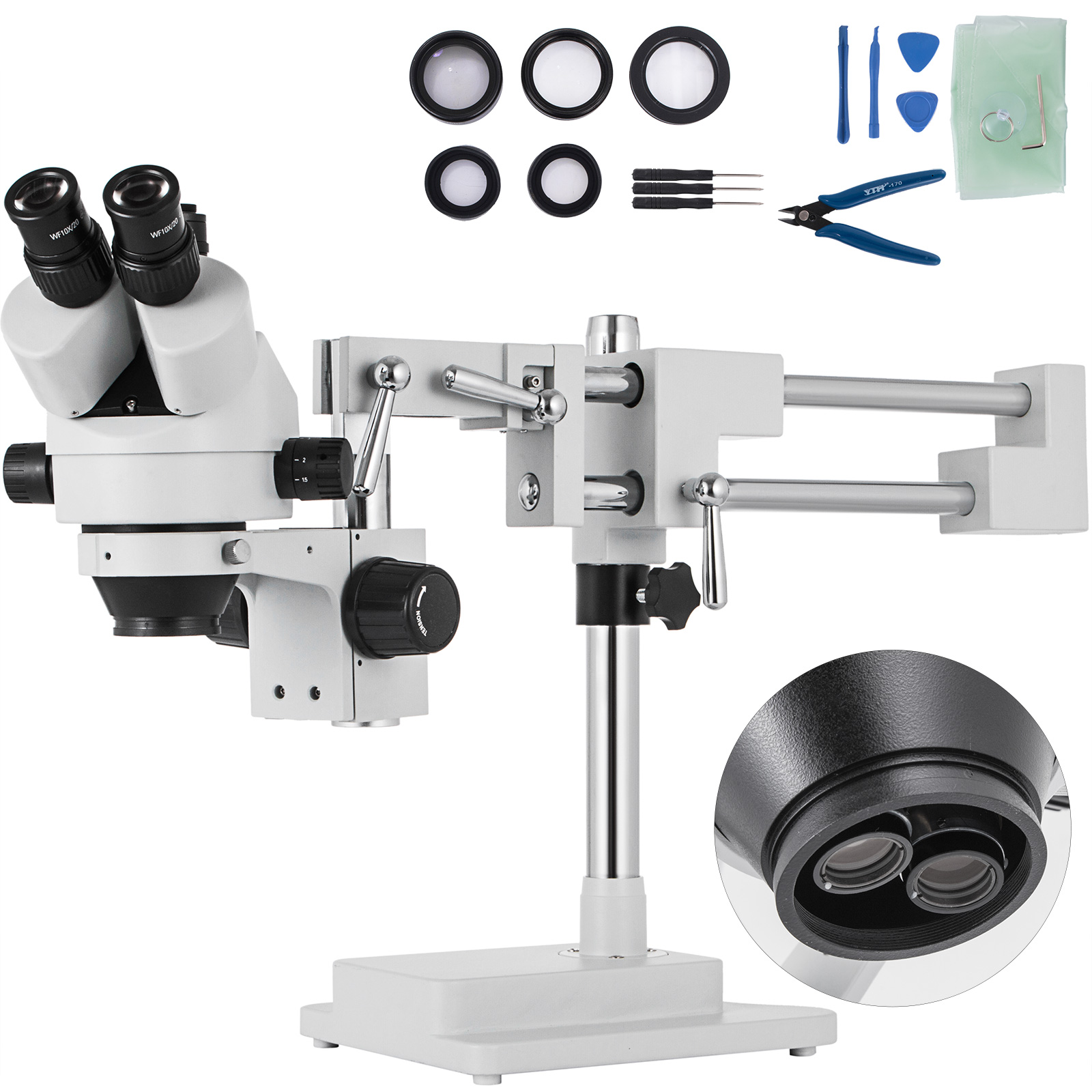 AmScope 3.5X-45X Simul-Focal Stereo Zoom Microscope with 30W LED Illuminator and 16MP USB3 Camera