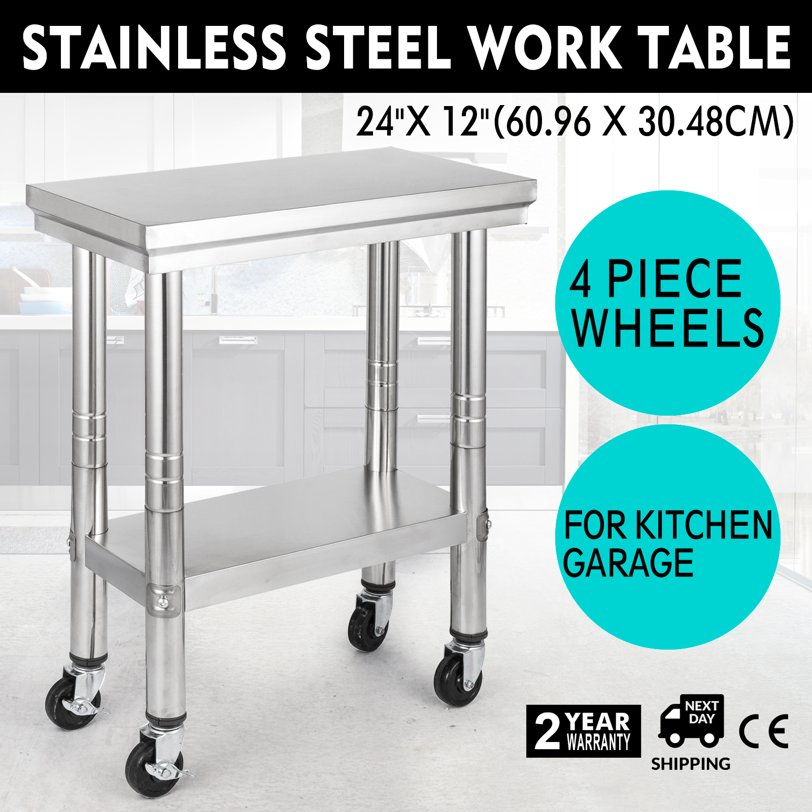 Details About 24x12 Kitchen Stainless Steel Work Table With 4 Caster Wheels Adjule Height